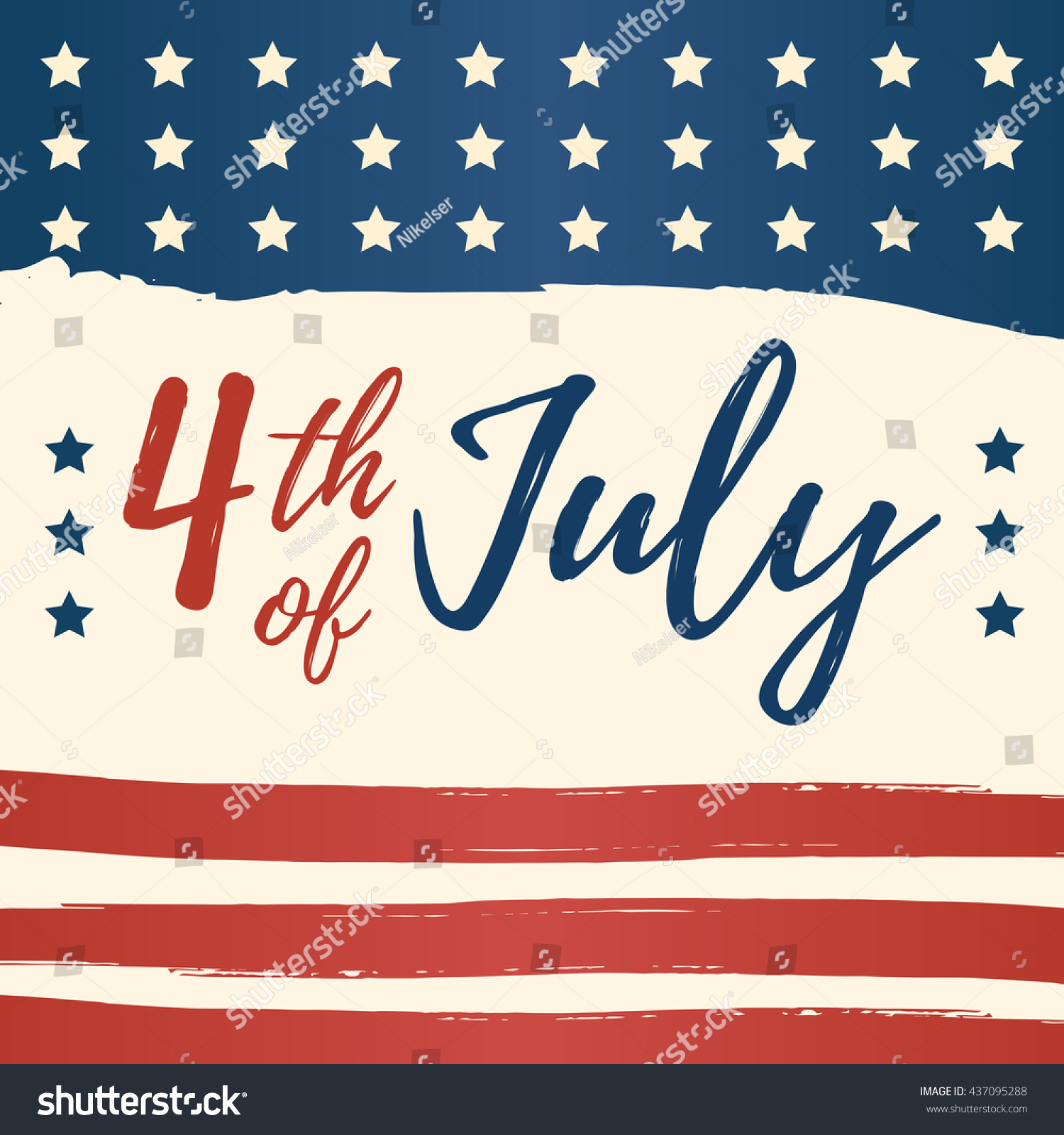 Fourth July Usa Independence Day Greeting Stock Vector Royalty Free