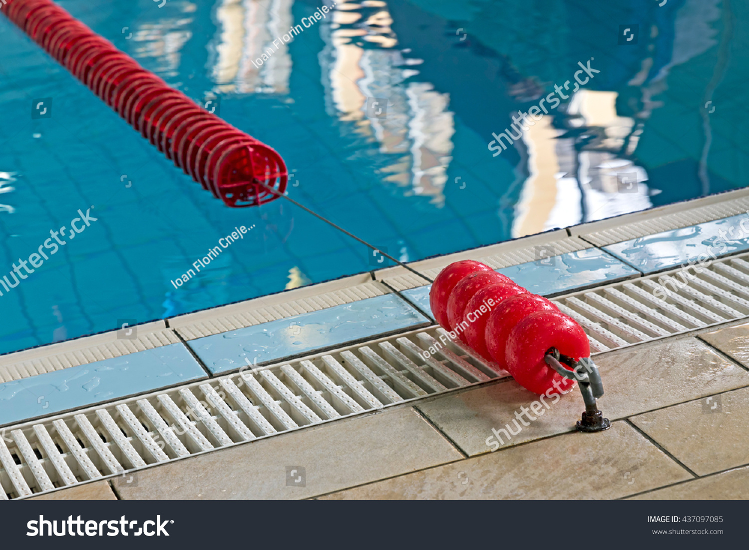 Swimming Pool Lanes Background royalty-free background with a swimming pool and red… #437097085