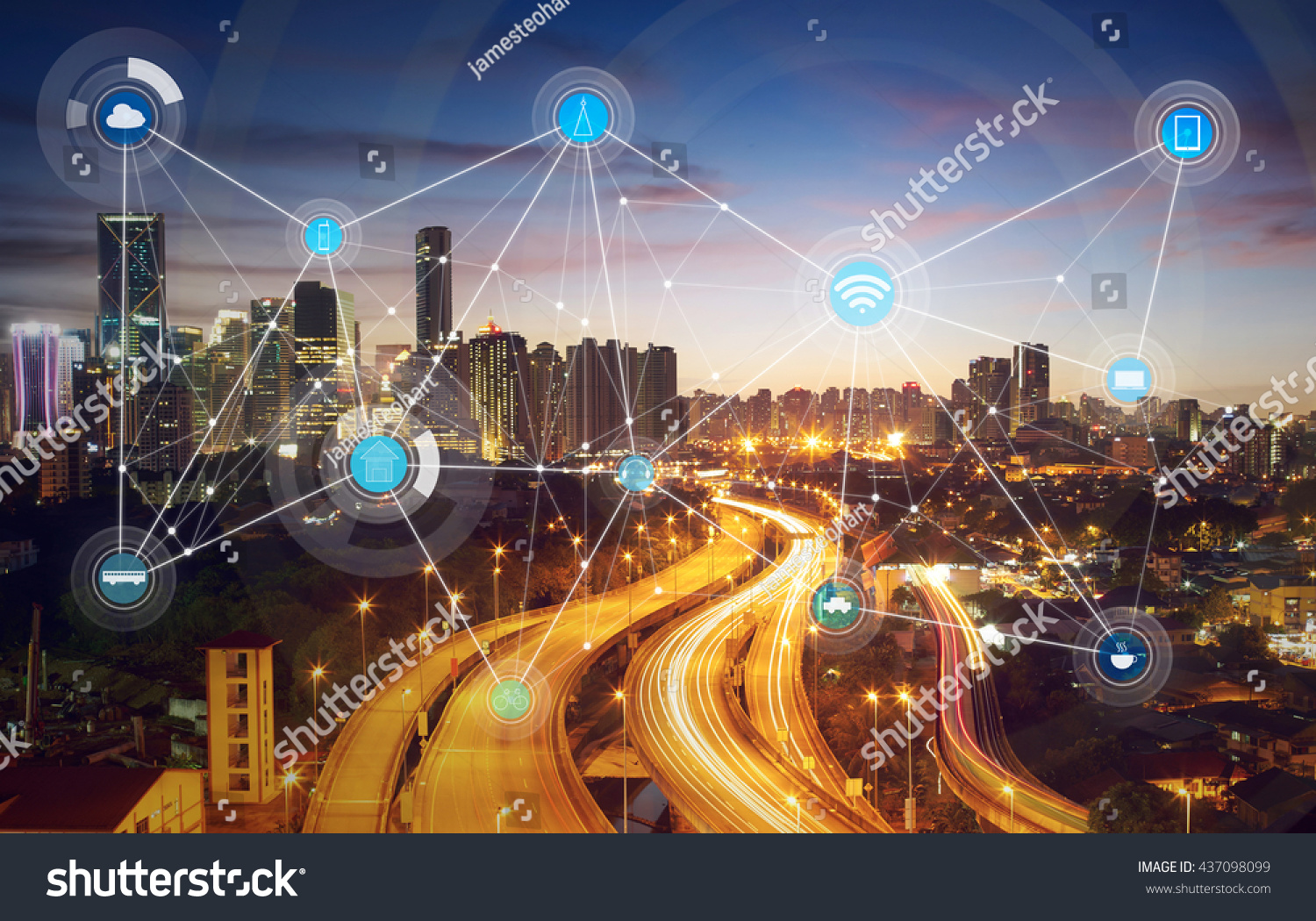 stock photo smart city and wireless communication network abstract image visual internet of things 437098099 - asdasd