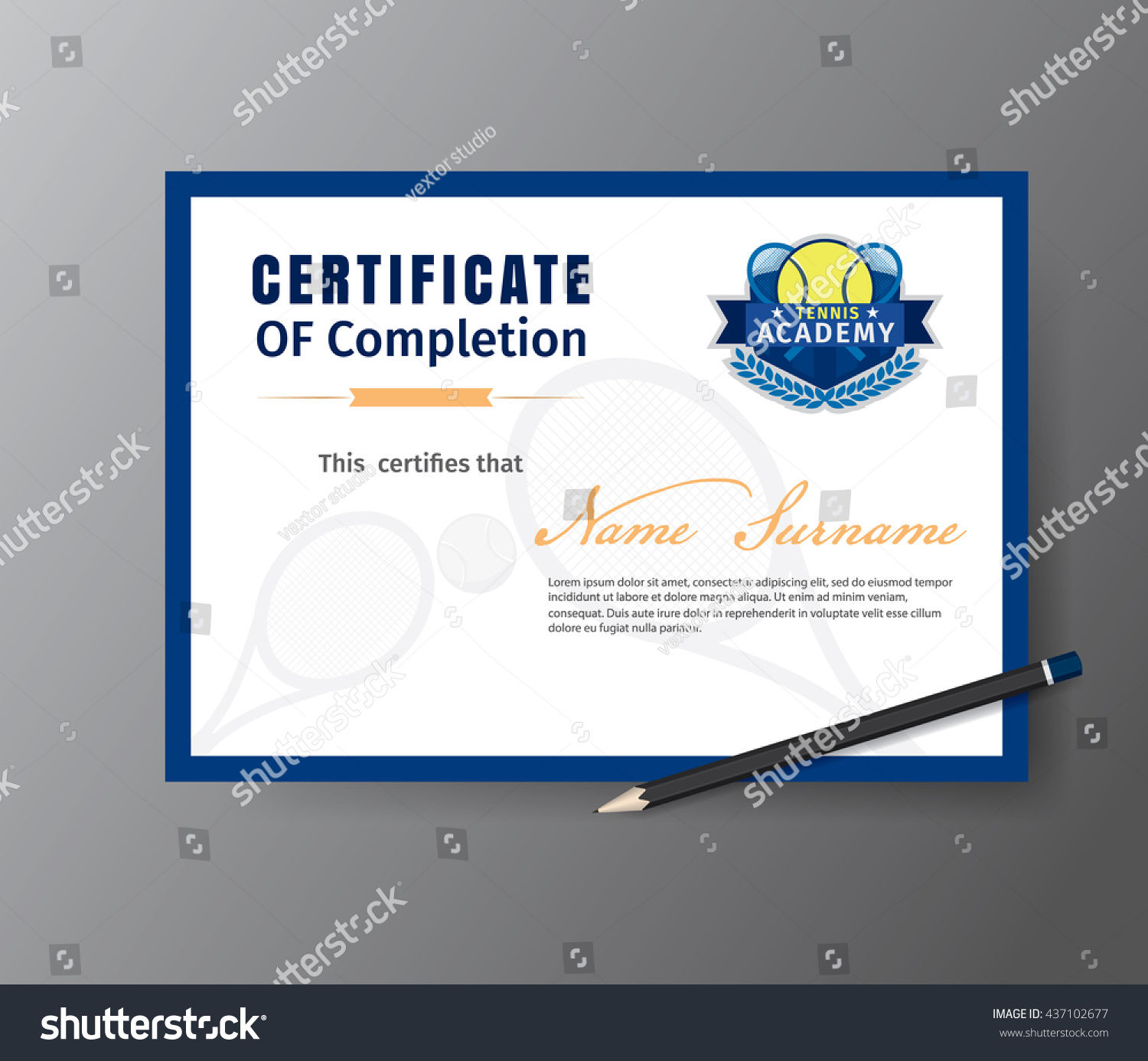 Vector template certificate tennis training course stock vector vector template for certificate of tennis training course xflitez Image collections