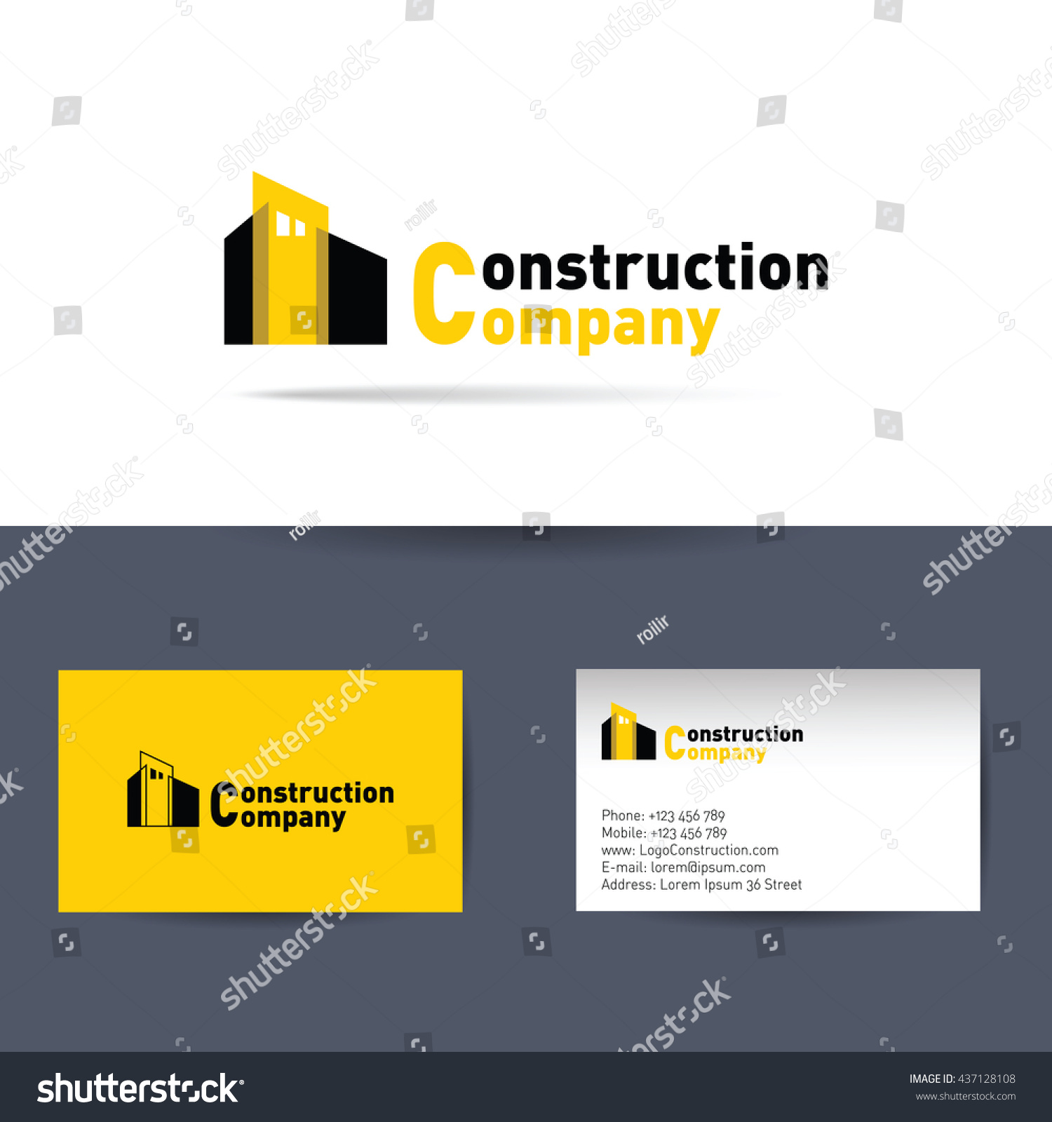 Vector logo construction company business card stock vector vector logo construction company and business card template for construction corporation magicingreecefo Images
