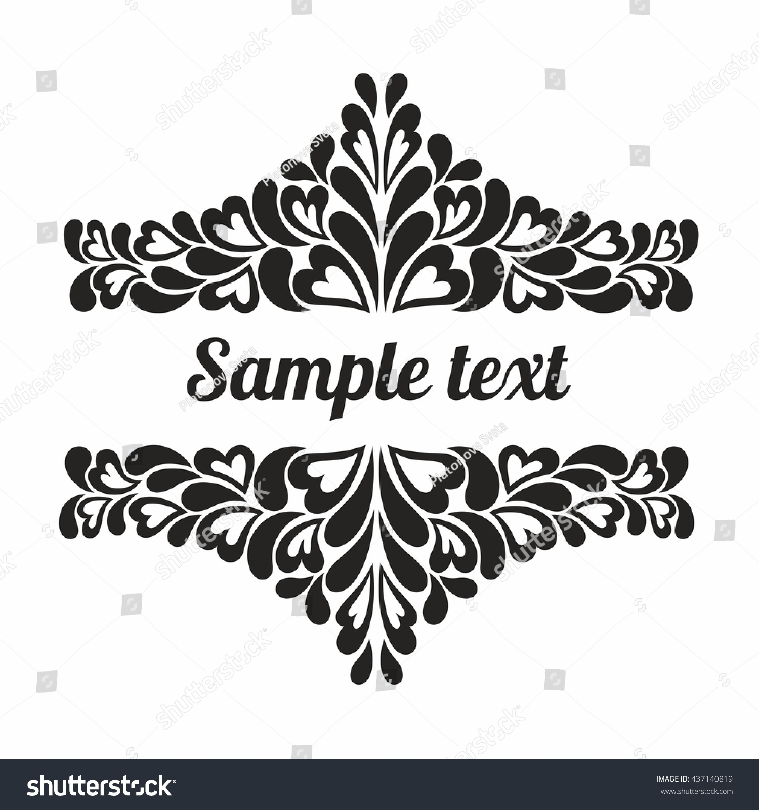 Black frame hearts on white background stock vector 437140819 black frame with hearts on white background for greeting cards wedding invitations vector illustration stopboris Images