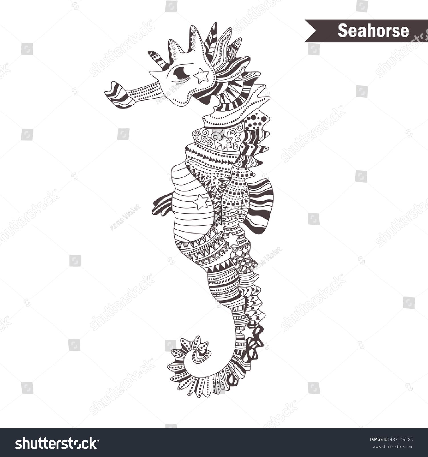 seahorse zentangle style coloring book stock vector