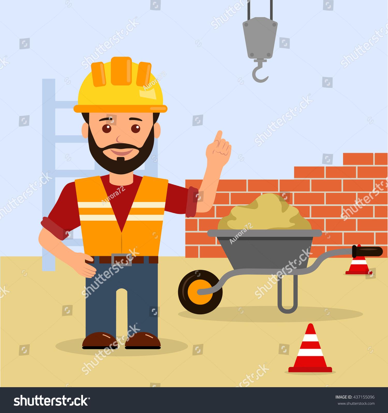 Building Construction Cartoon : Man foreman construction site building stock