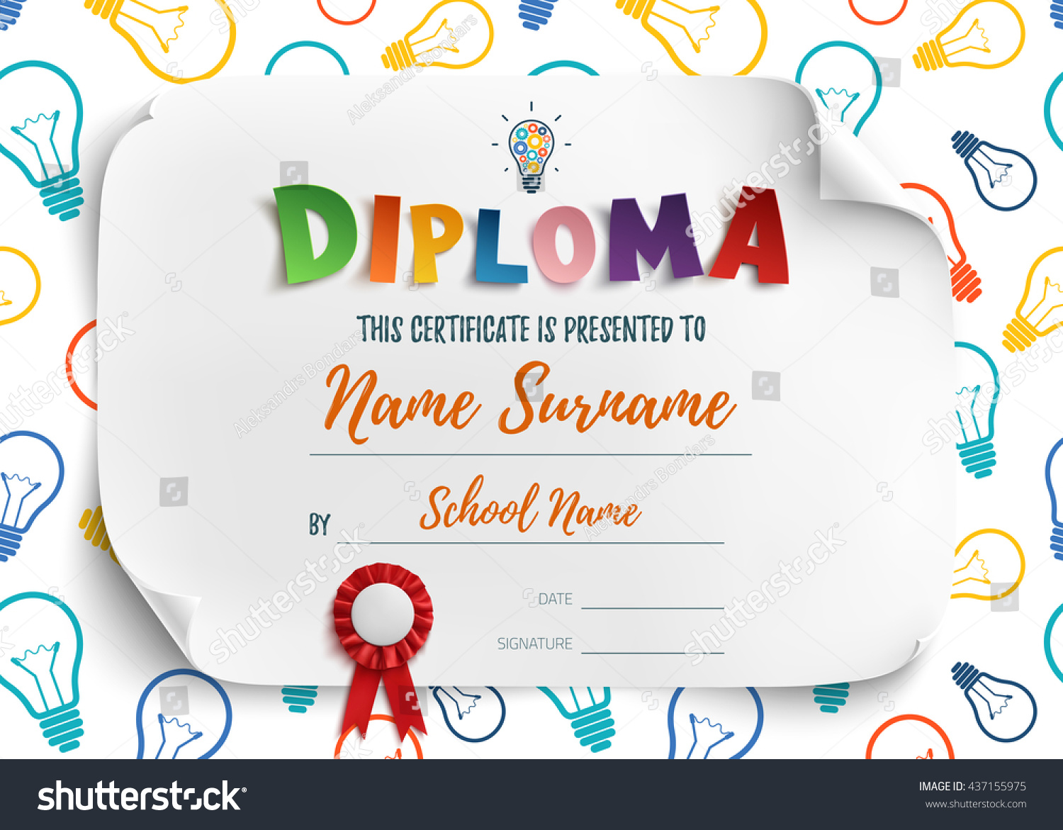 Diploma template kids school preschool playschool stock vector diploma template for kids school preschool playschool certificate background vector illustration yadclub Image collections