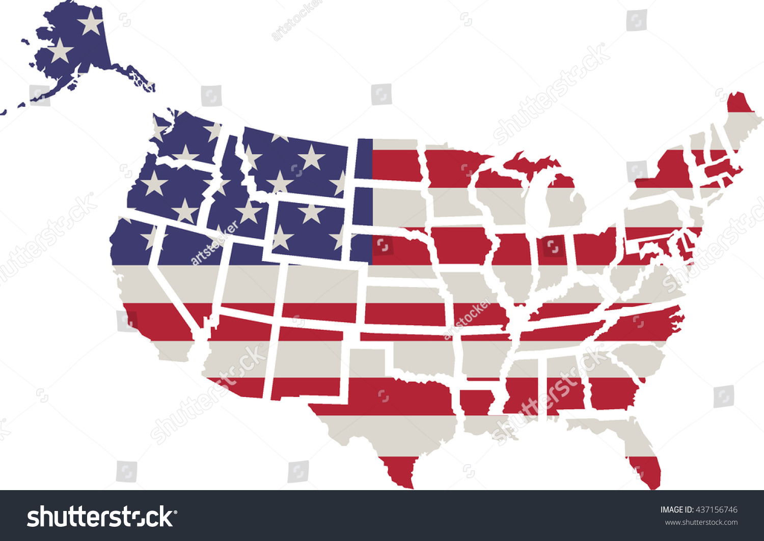 Usa Flag Shape American Map Vectorflag Stock Vector - Us map all white red background
