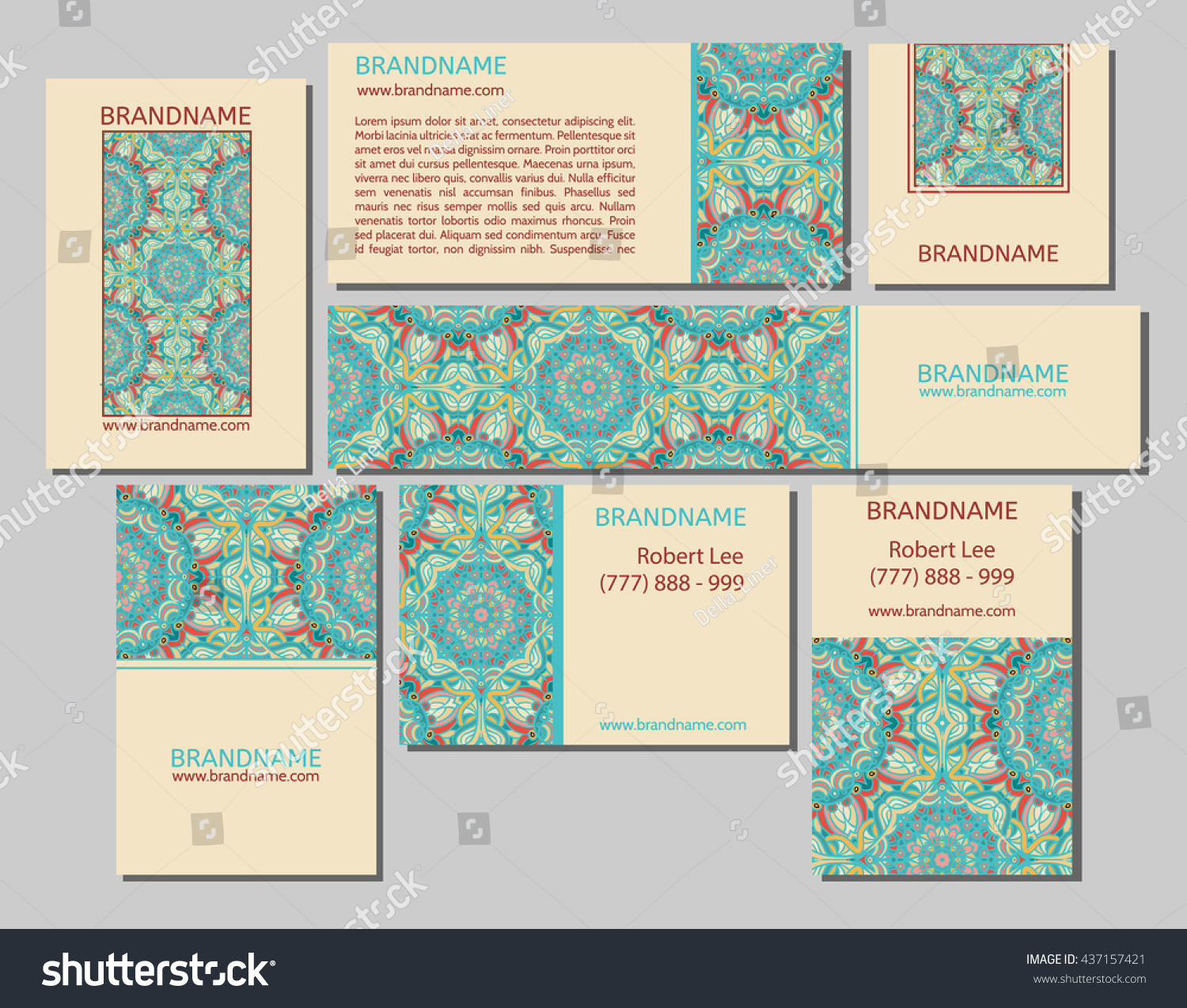 Vector Set Business Cards Flayers Banners Stock Vector 437157421 ...