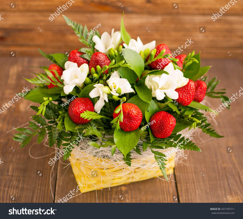 Bouquet Flowers Fruit Ripe Strawberry White Stock Photo Royalty