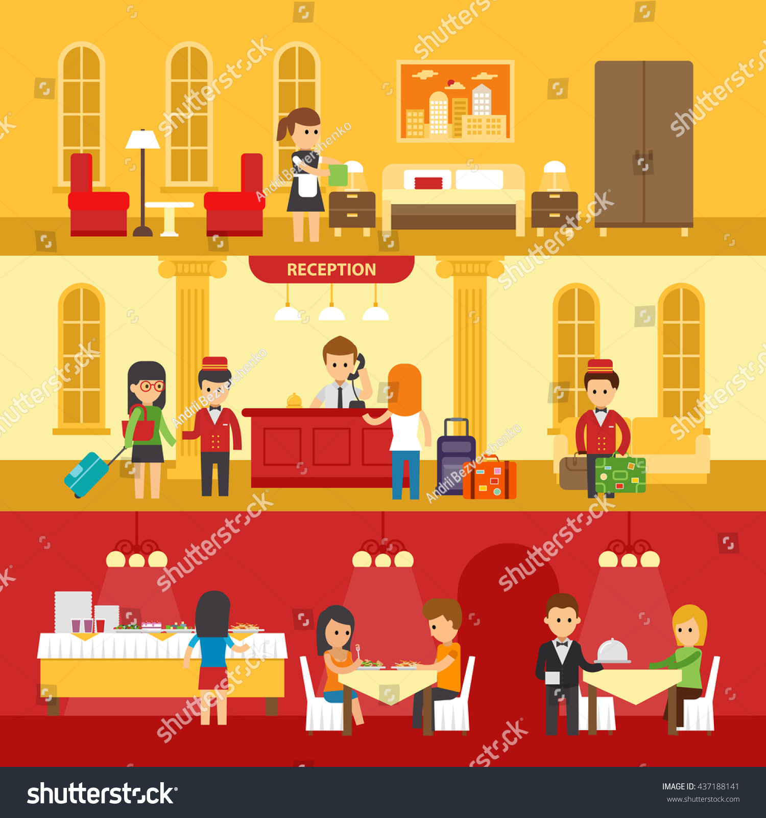 hotel interior people hotel service vector stock vector 437188141