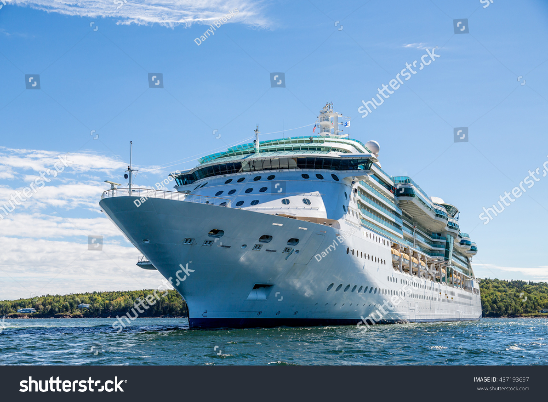 Cruise Ship Anchored Off Coast Bar Stock Photo - Cruise ship bar harbor