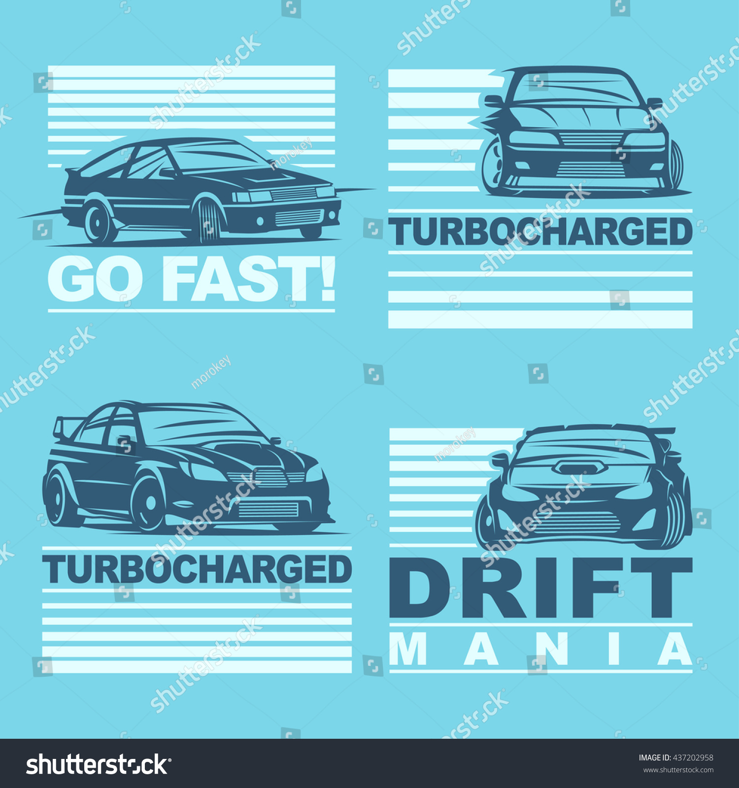 set four sport cars logo template stock vector 437202958