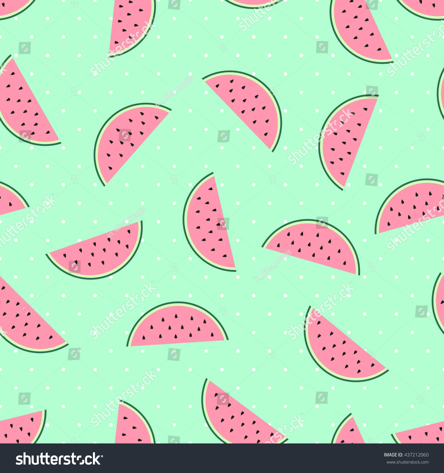 Pink Watermelon Slices Seamless Pattern On Mint Green Polka Dots Background Cute Fruit