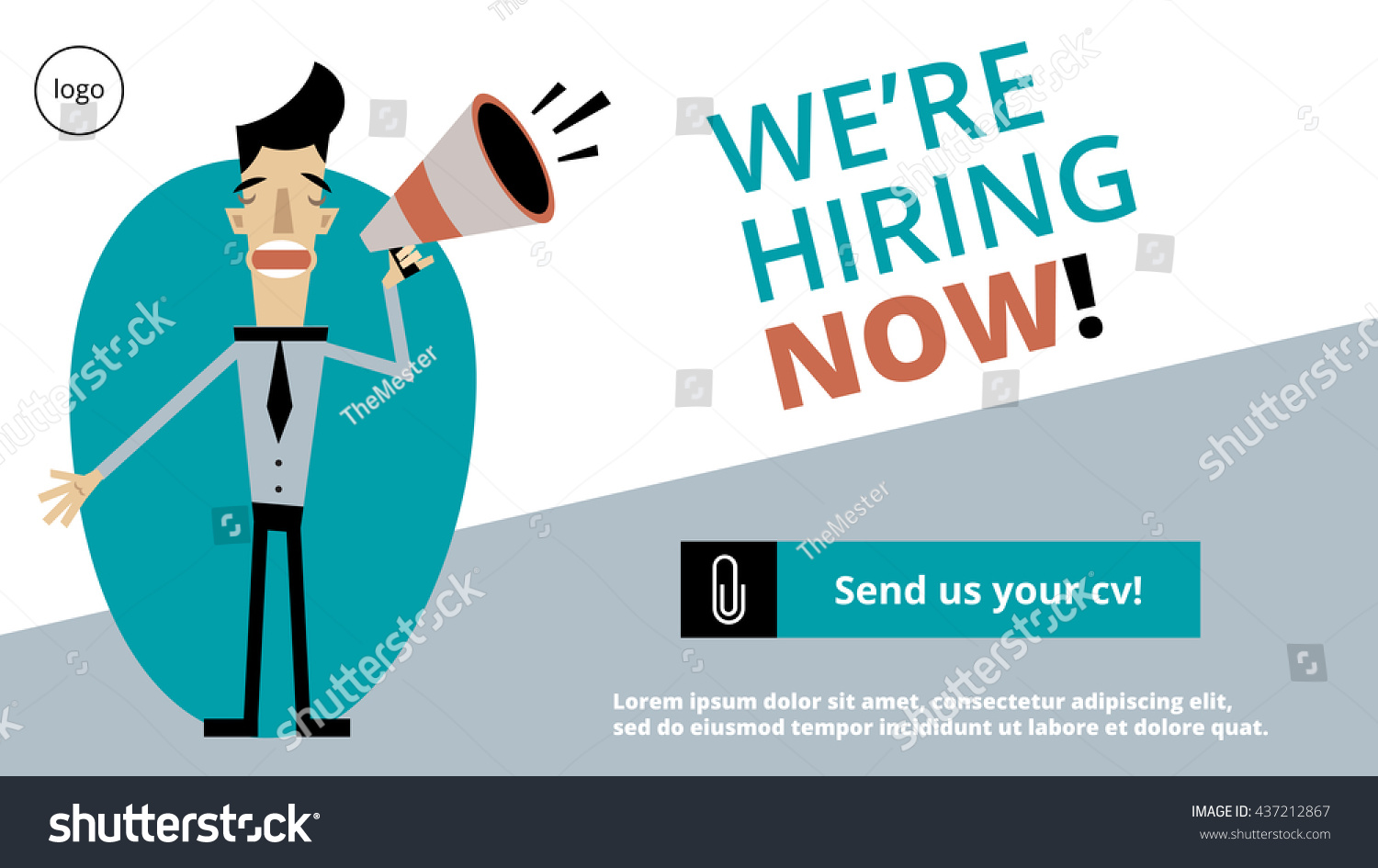 were hiring now sign landing page stock vector 437212867