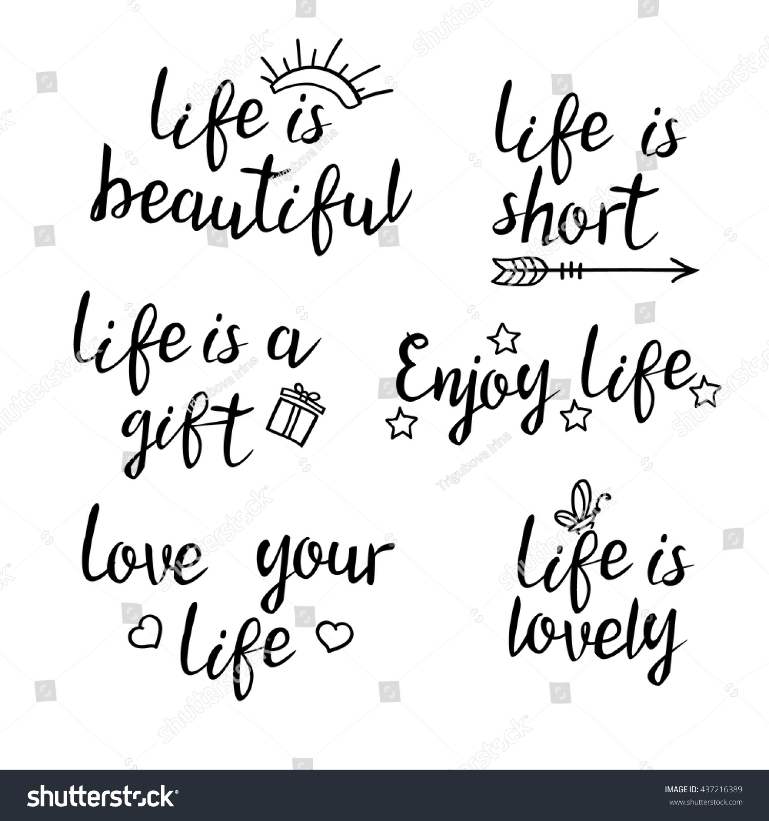 Life Is Beautiful Quotes Royaltyfree Lettering Life Quotescalligraphy… 437216389 Stock