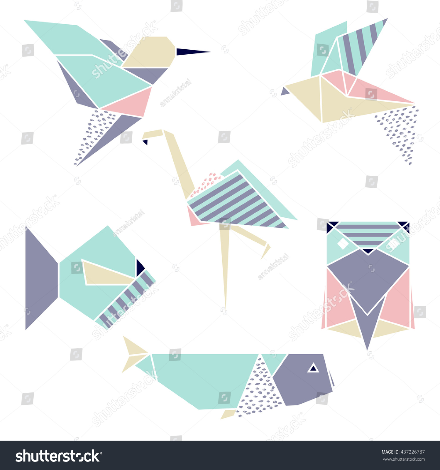 Origami Geometric Set Flamingo Hummingbird Fish Stock ... - photo#15