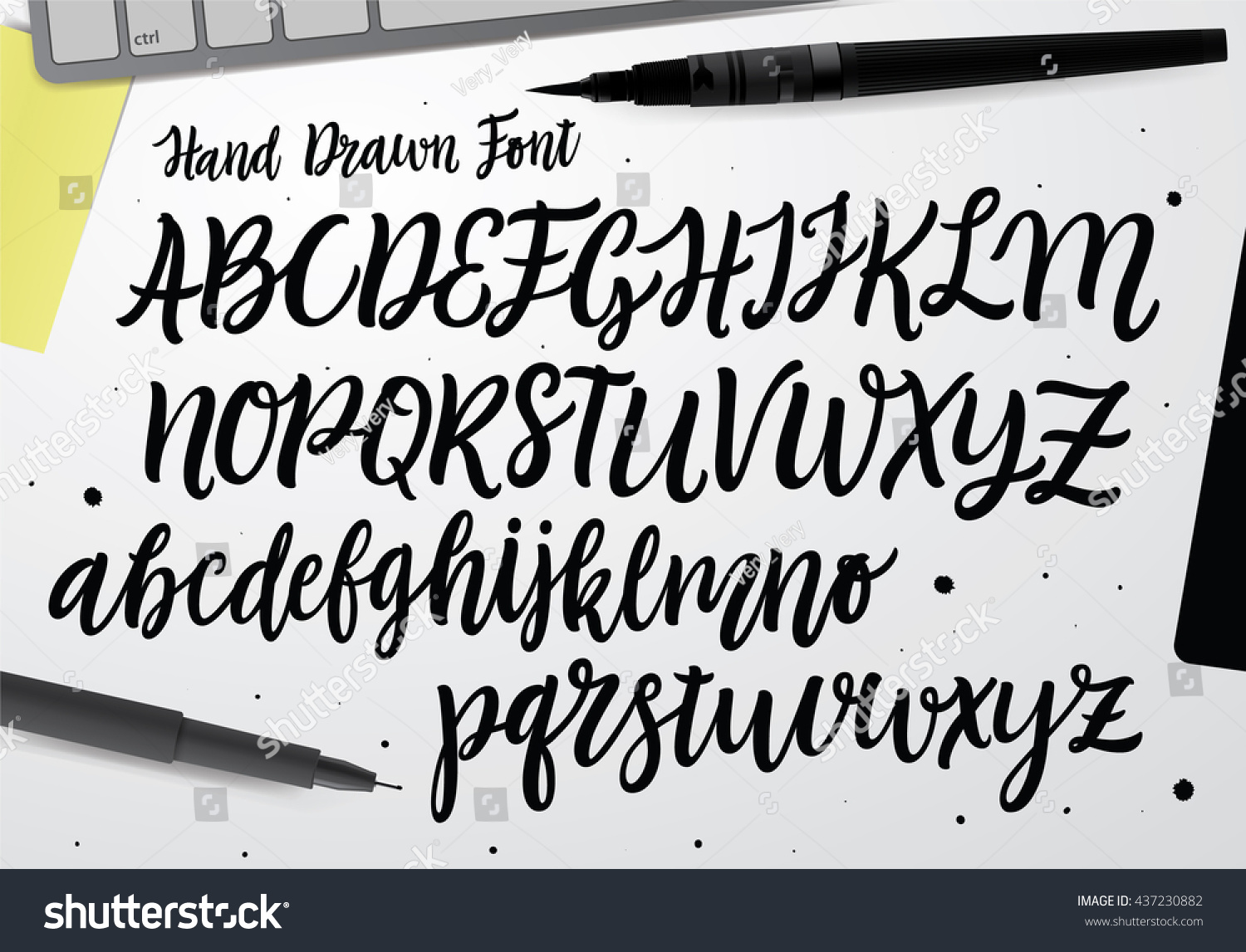 Handwritten Script Font Hand Drawn Brush Stock Vector