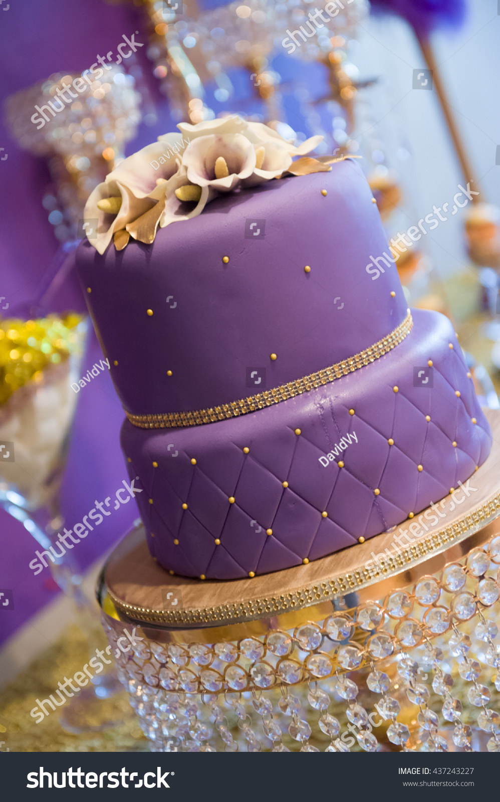 Double Layer Purple Birthday Cake Stock Photo Edit Now 437243227