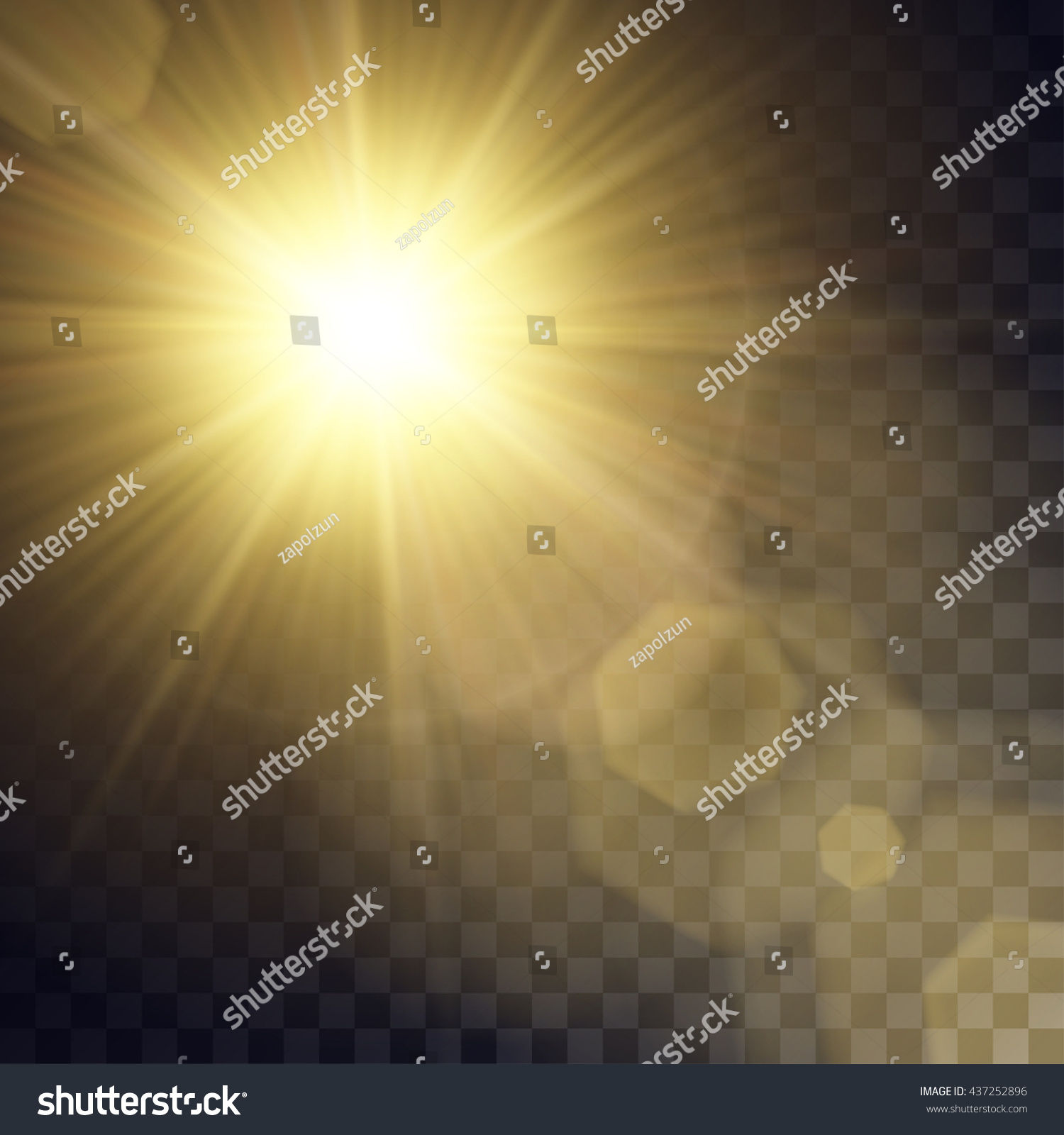 Vector Yellow Sun Light Effects Rays Stock Vector 437252896 ... for Sun Light Effect Background  45hul