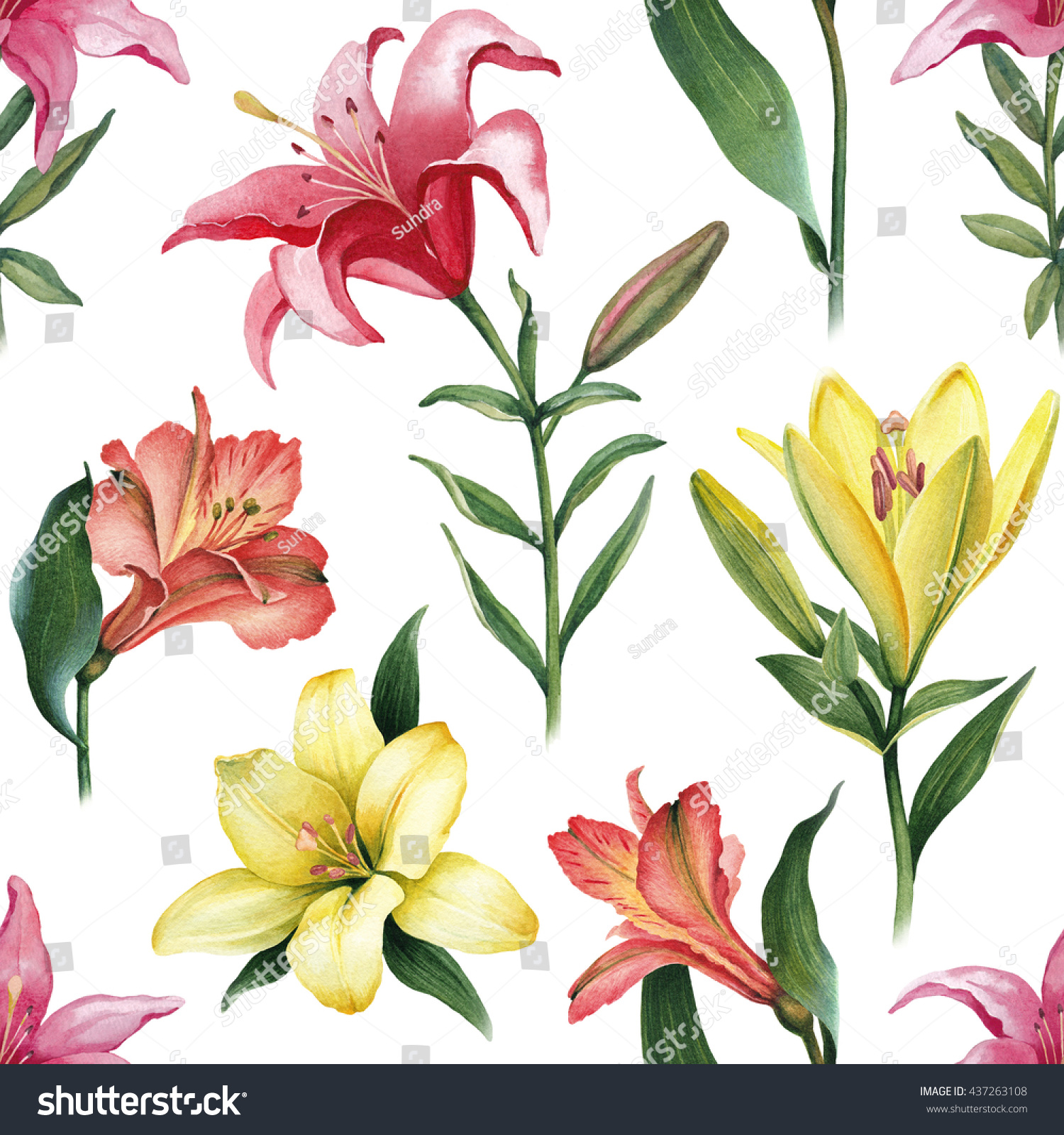 Watercolor Illustrations Lily Flowers Seamless Pattern Stock
