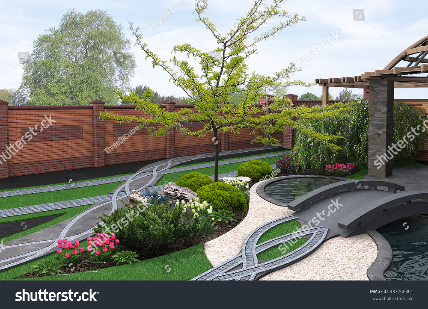 Japanese Inspired Garden 3d Render Stock Illustration 437266801    Shutterstock