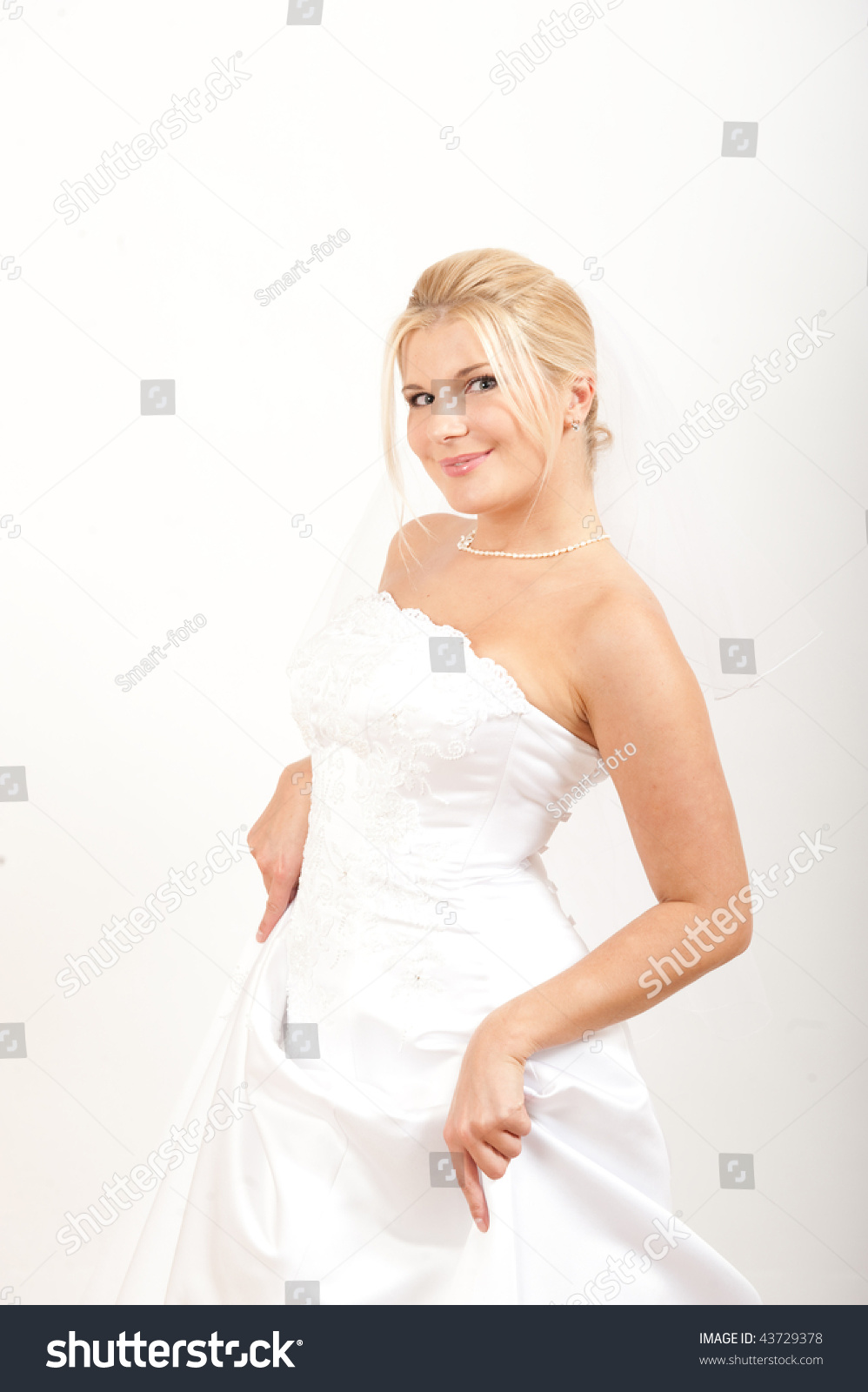 White Dress Bridal Makeup : Young Happy Sexy Bride In White Wedding Dress And Perfect ...