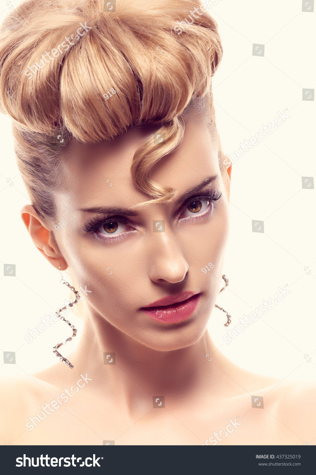 Fashion Mohawk Hairstyle Natural Makeup Beauty Stock Photo Edit Now