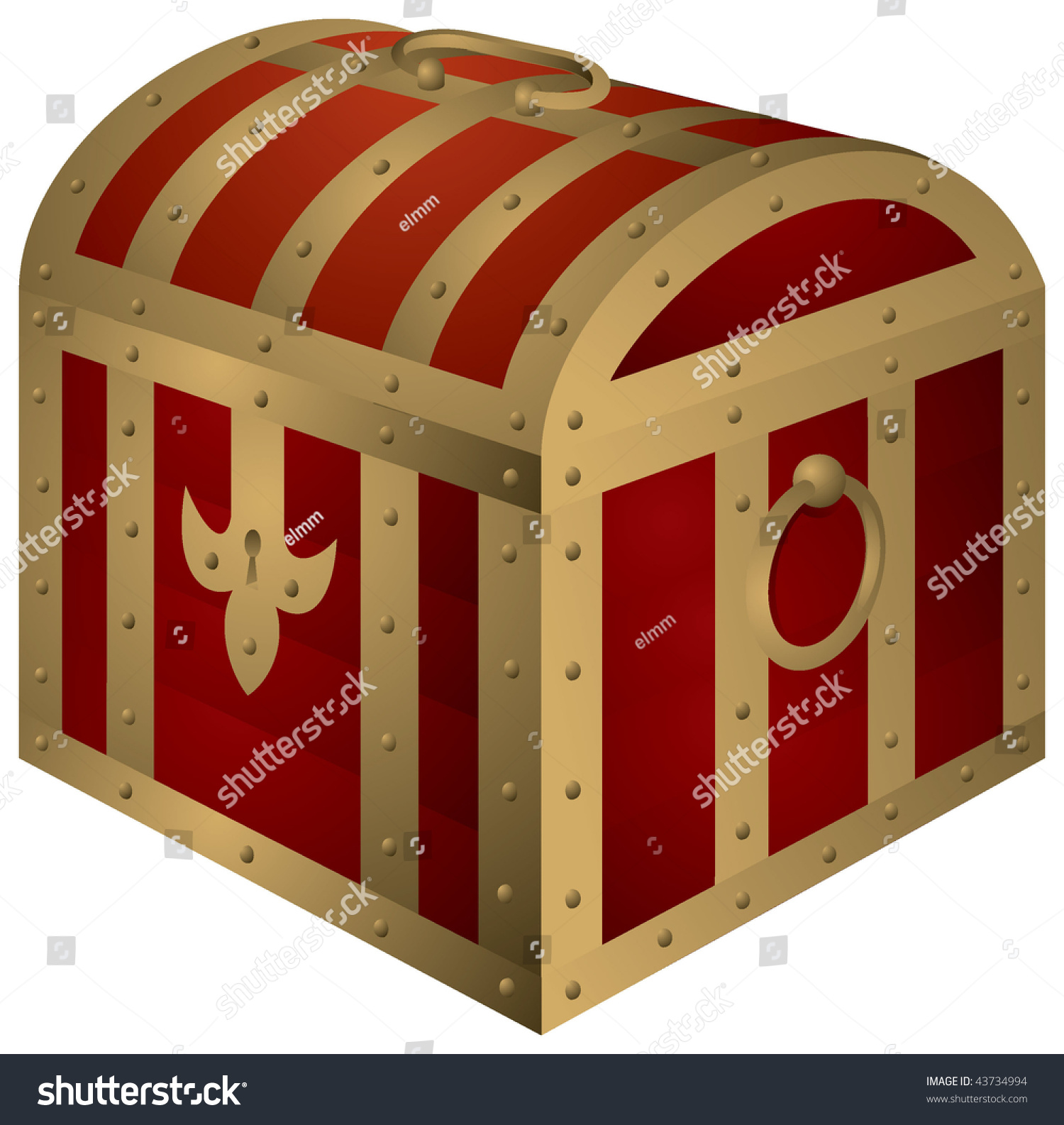 Old Wooden Chest Treasure Island Locked Stock Vector Royalty Free