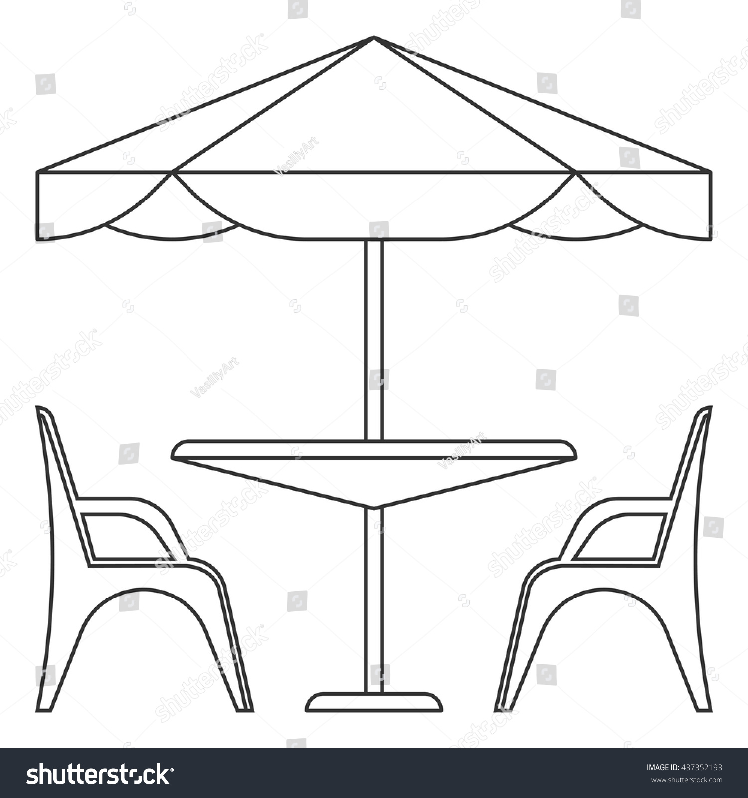 Cafe Table Chairs Under Sunshade Isolated Stock Vector