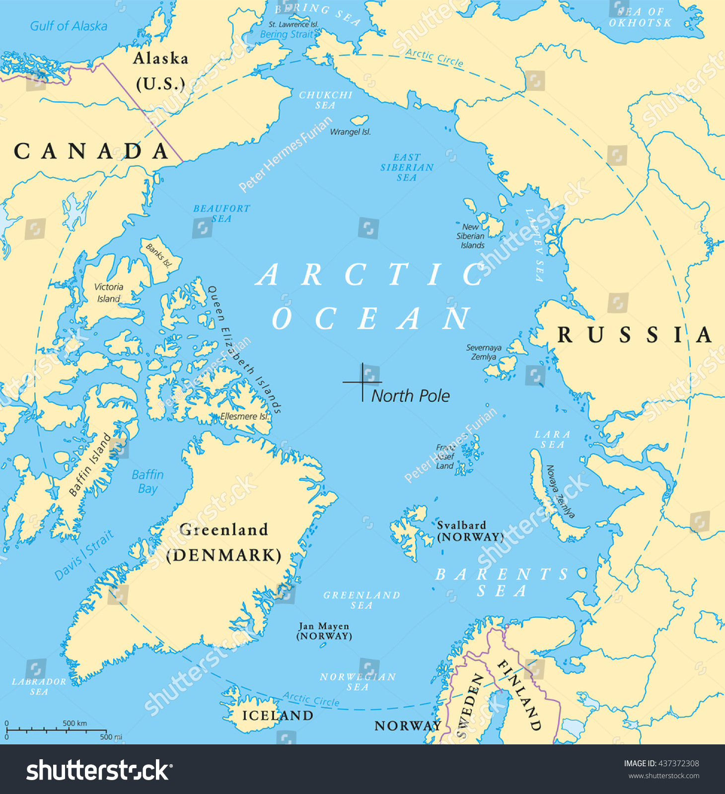 Arctic ocean map north pole arctic vector de stock437372308 arctic ocean map with north pole and arctic circle arctic region map with countries gumiabroncs Images