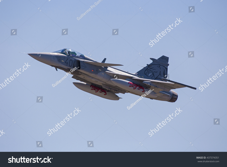 ZARAGOZASPAIN MAY 20 Jas 39 Gripen During Spotter Stock