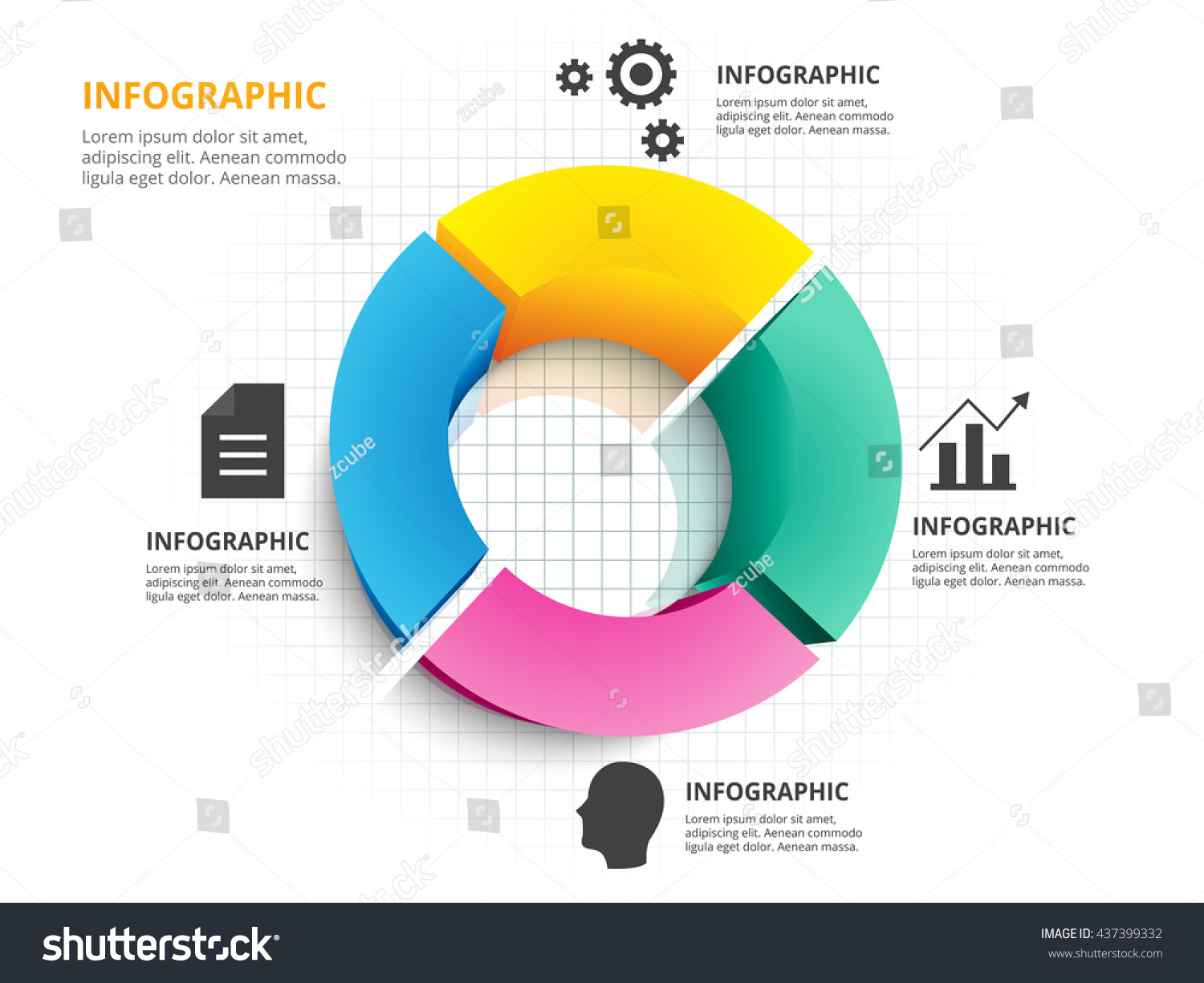 Abstract 3d circle four color chart stock vector 437399332 abstract 3d circle four color chart infographic template vector eps10 nvjuhfo Images