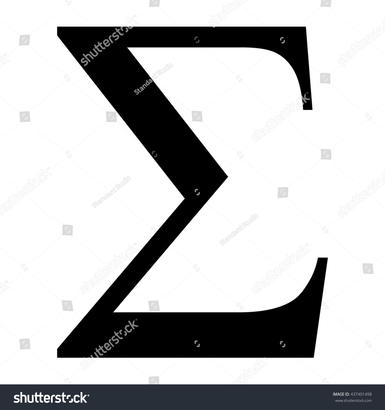 Sigma Greek Letter Icon Sigma Symbol Stock Vector Royalty Free