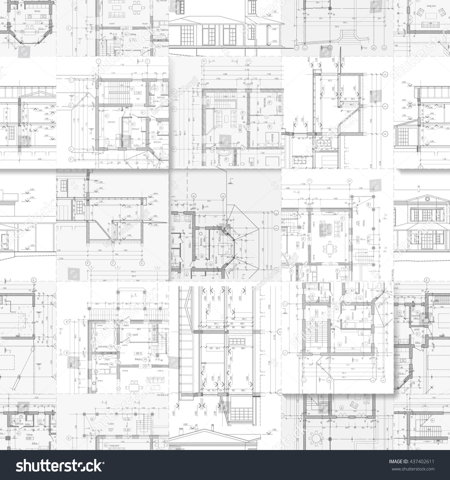 rchitectural Drawings Set Facades Building Plans Stock Vector ... - ^
