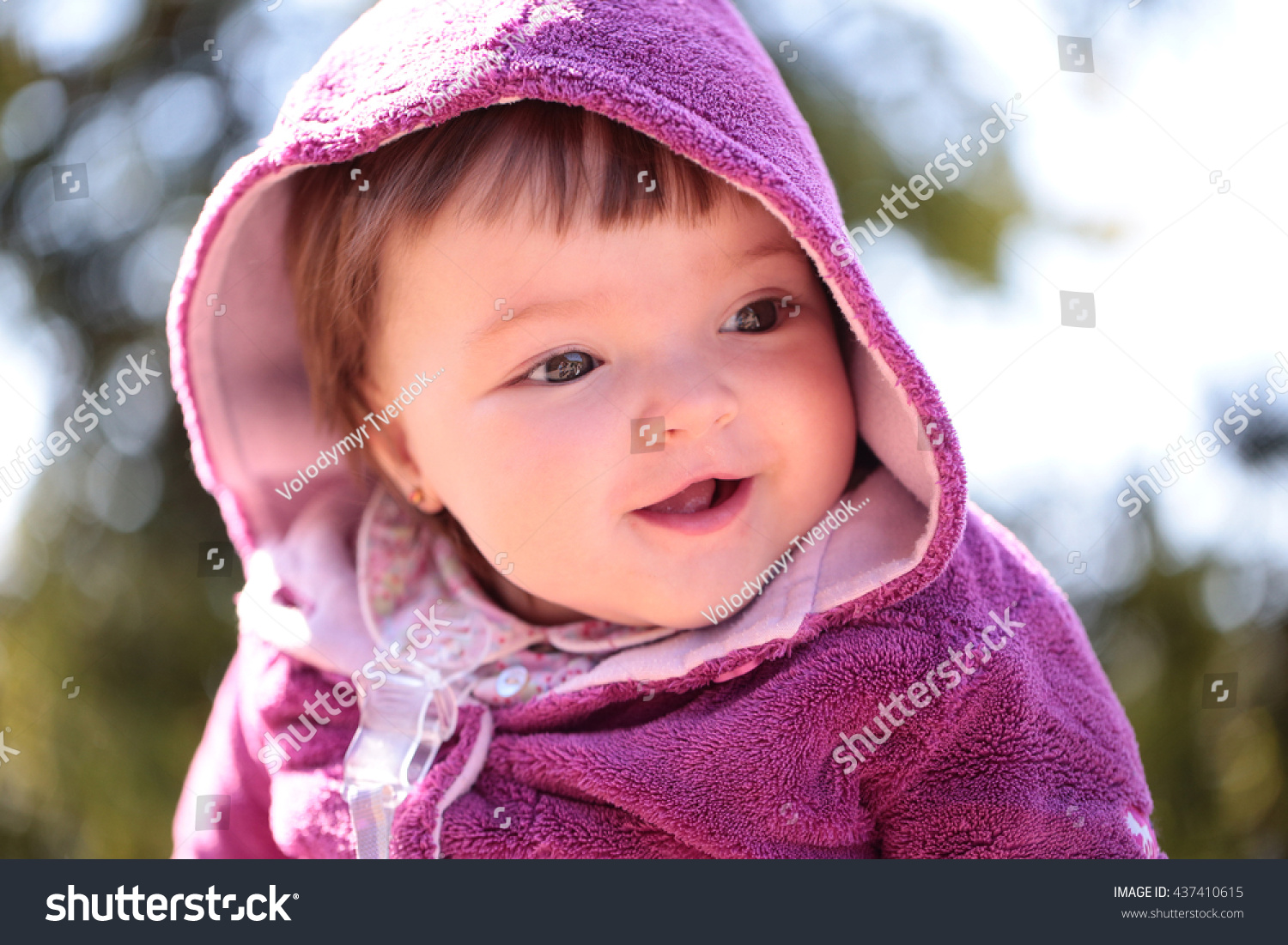 small cute baby girl pretty smiling stock photo (royalty free