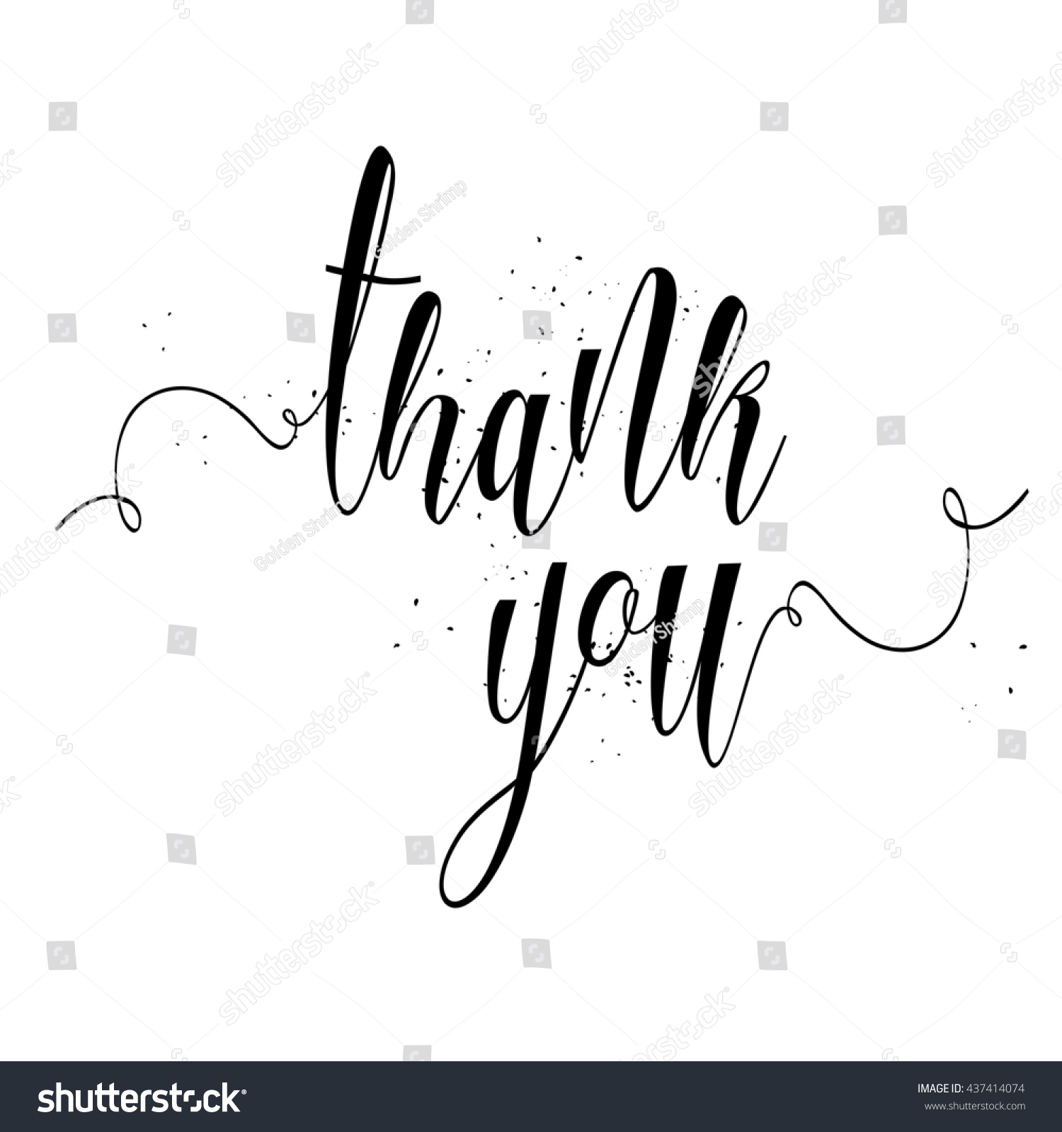 Thank you calligraphy sign brush painted stock