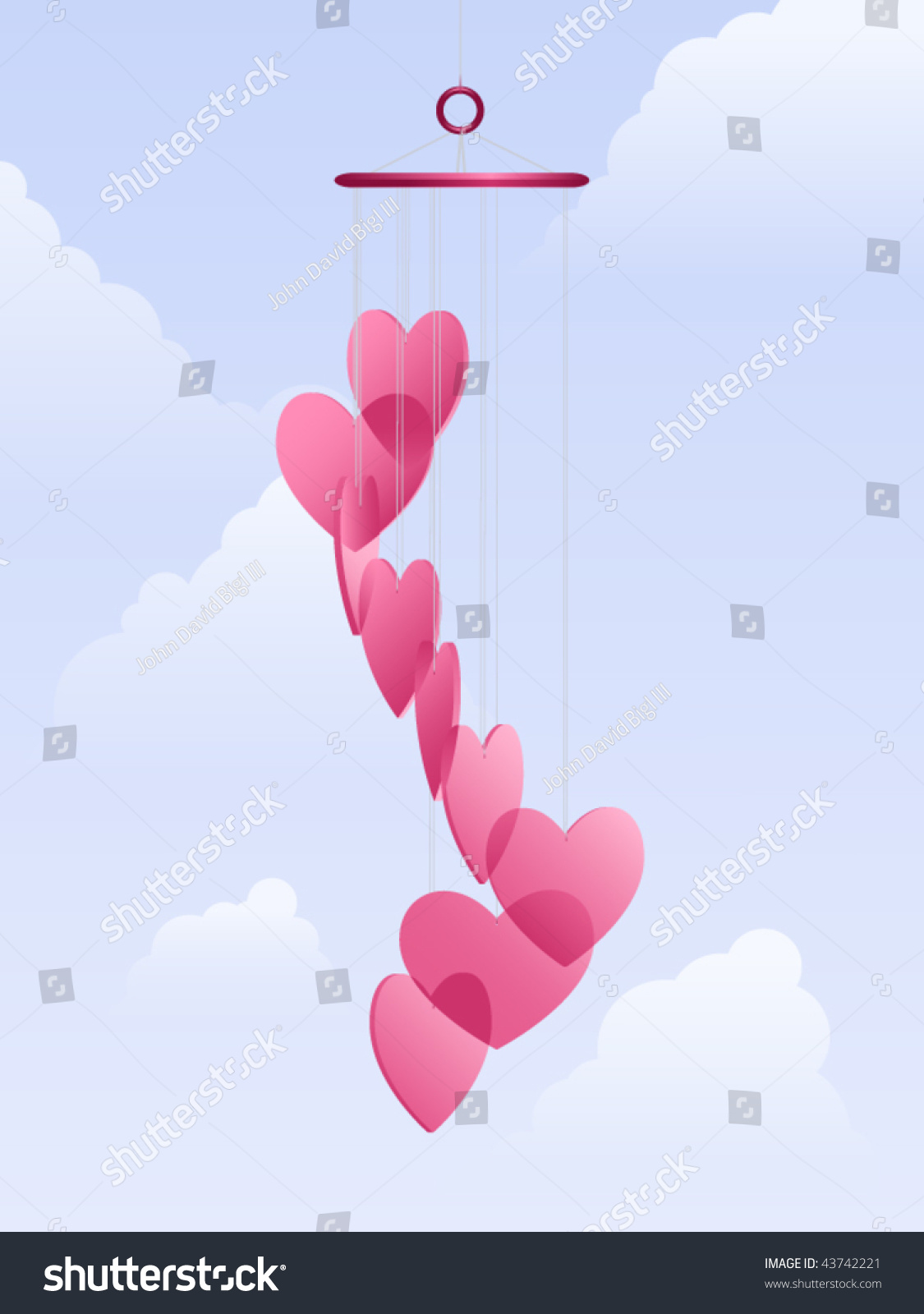 Translucent Heart Shaped Wind Chimes Against Stock Vector Royalty