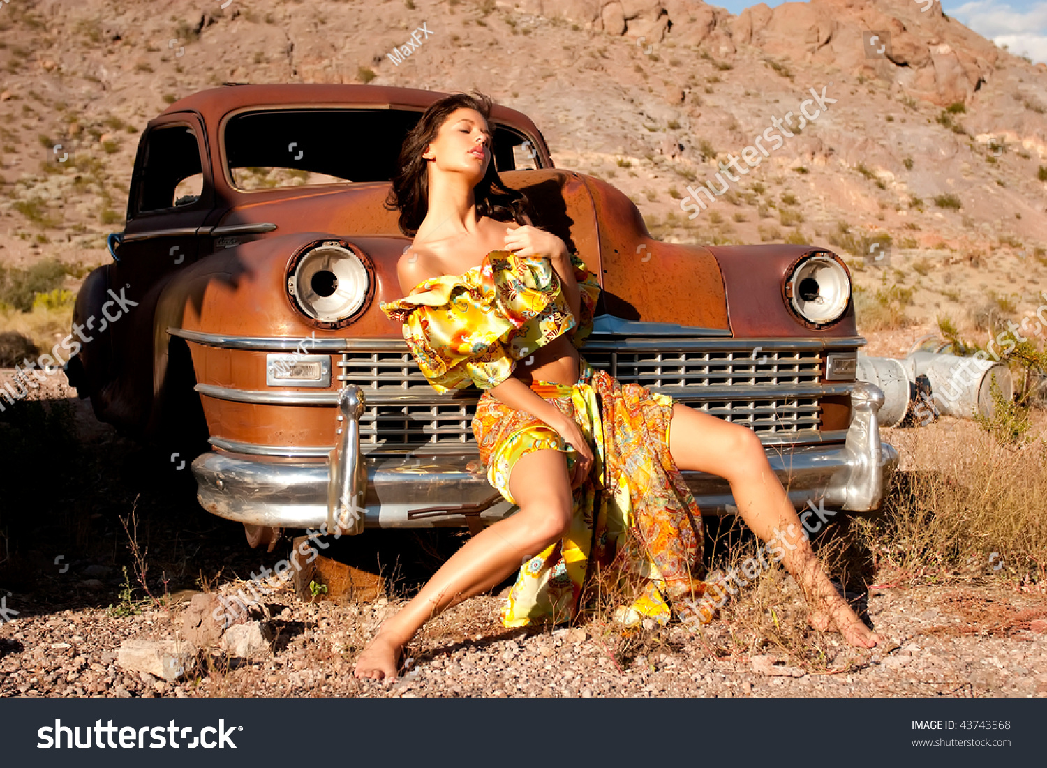 Beautiful Sexy Woman On Old Car