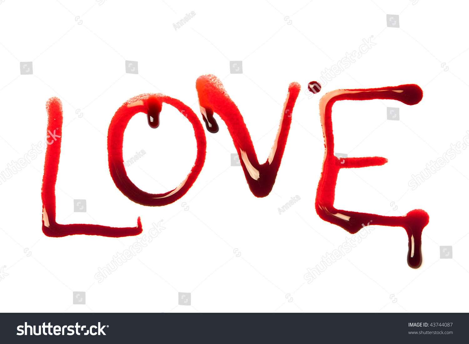 love word written letters dripping blood stock photo (royalty free