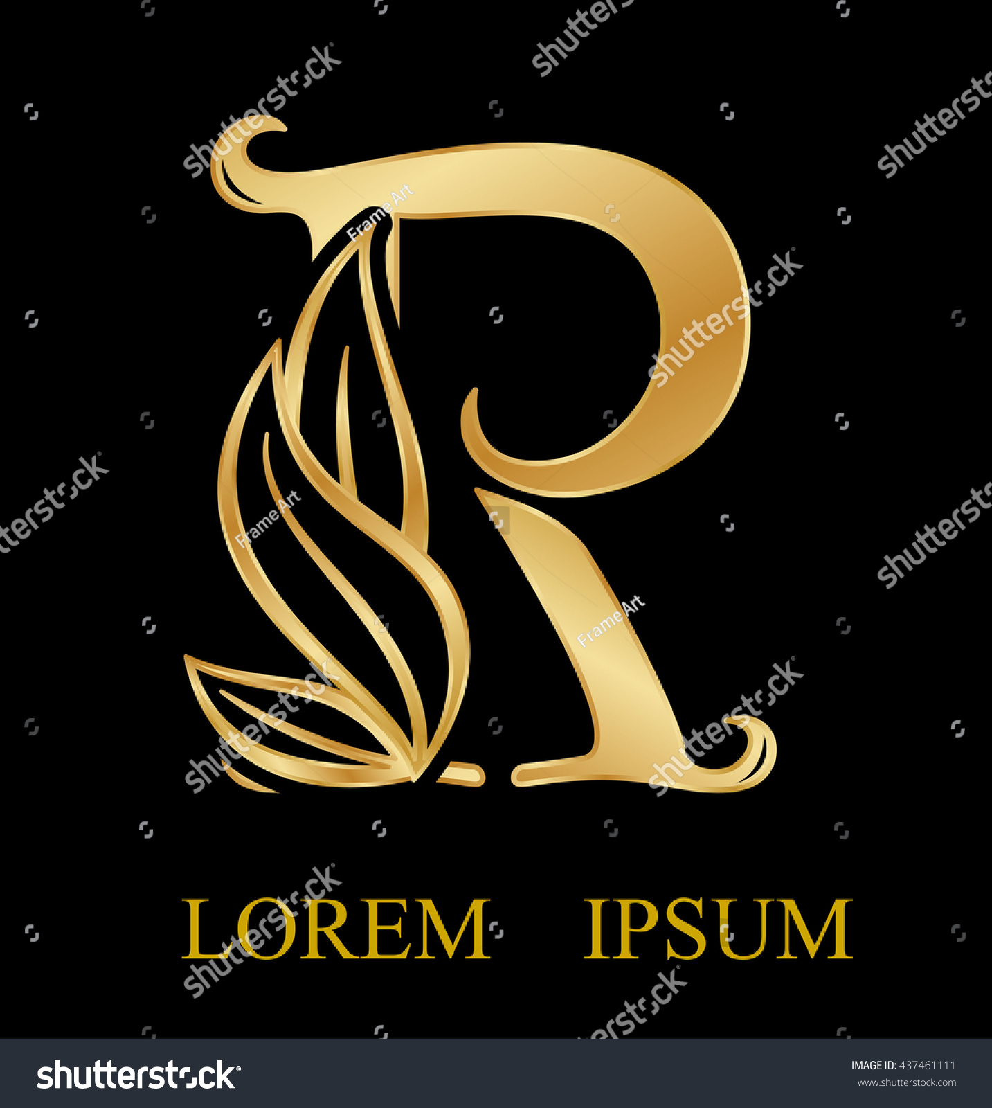 Royalty free abstract letter r logo designgold 437461111 stock abstract letter r logo designgold beauty industry and fashion logosmetics business altavistaventures Image collections