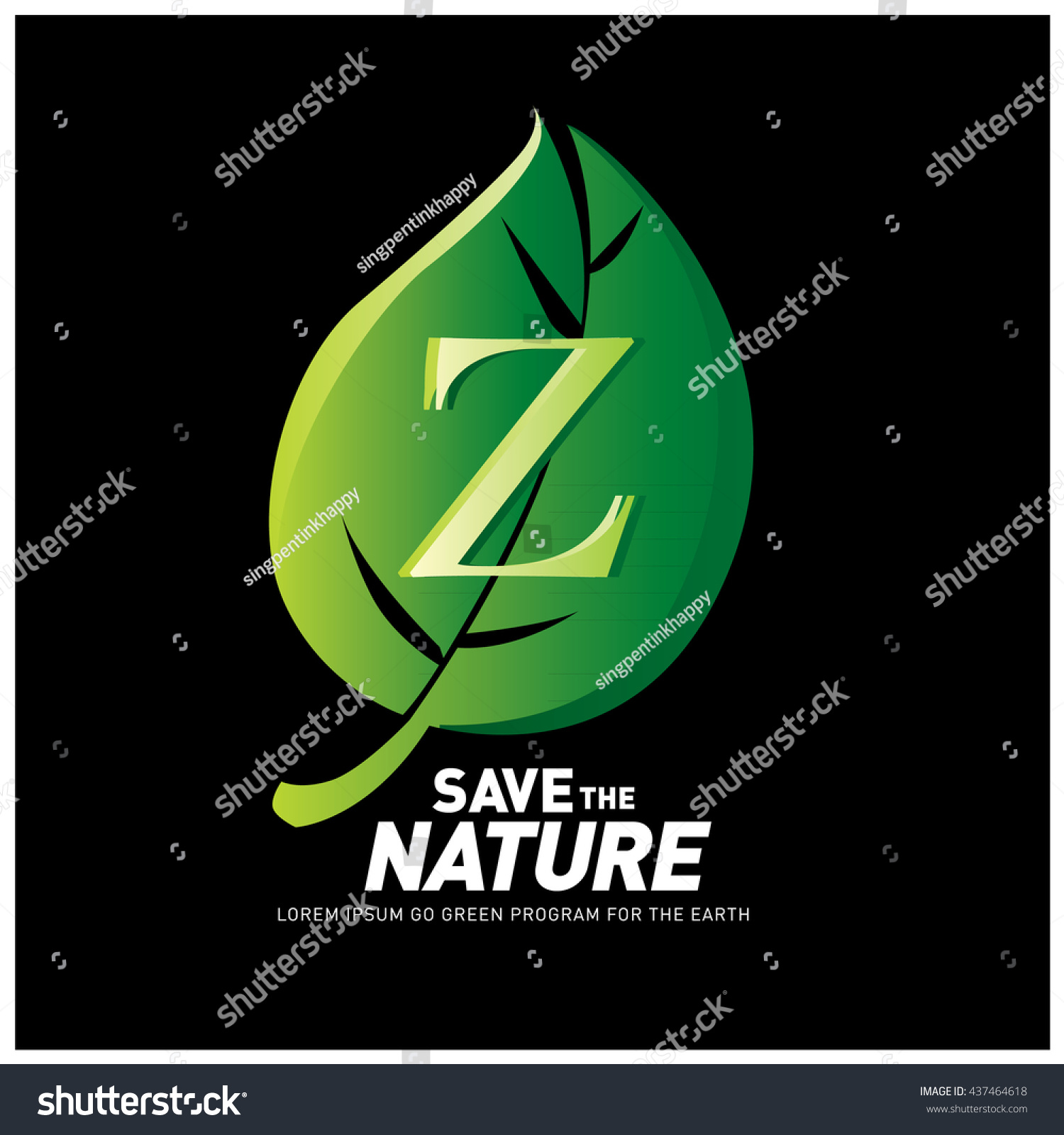 Poster design nature - Letter Z Vector Logo And Icon Save The Nature Go Green Poster Design Ecology