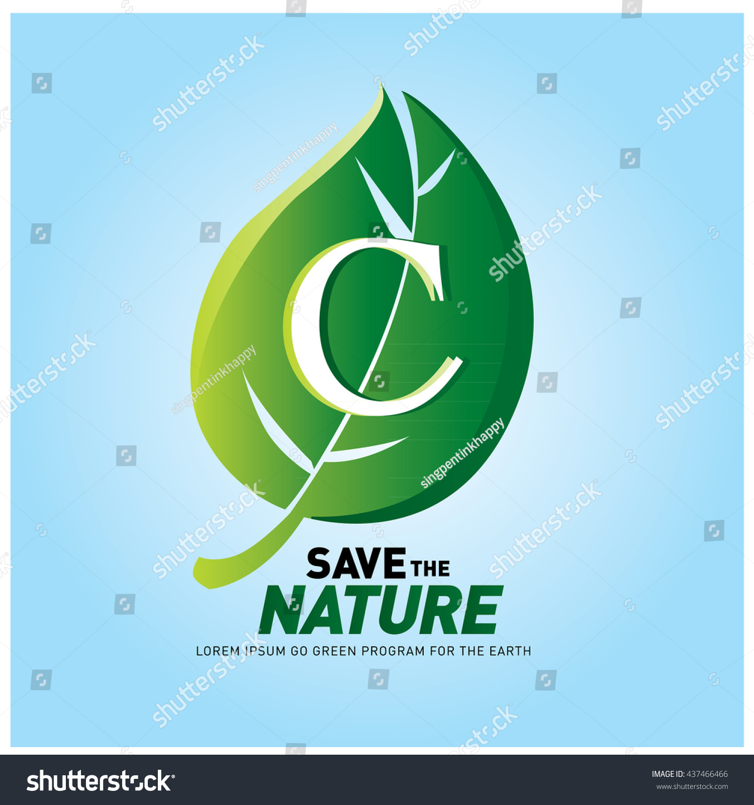 Poster design on save earth - Letter C Vector Logo And Icon Save The Nature Go Green Poster Design Ecology
