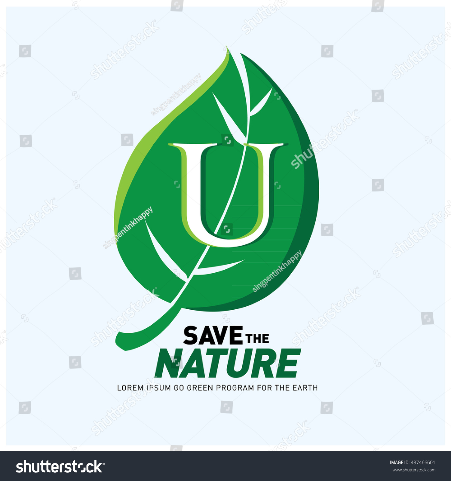 Poster design on save earth - Letter U Vector Logo And Icon Save The Nature Go Green Poster Design Ecology