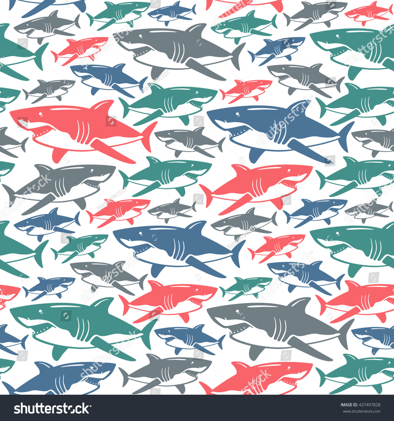 Shark Seamless Pattern Color Print On White Background