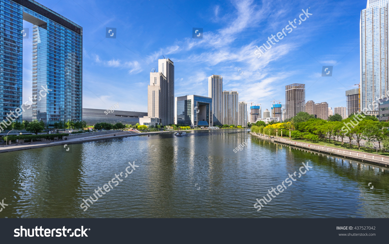 modern buildings river urban citytianjin china stock photo edit now