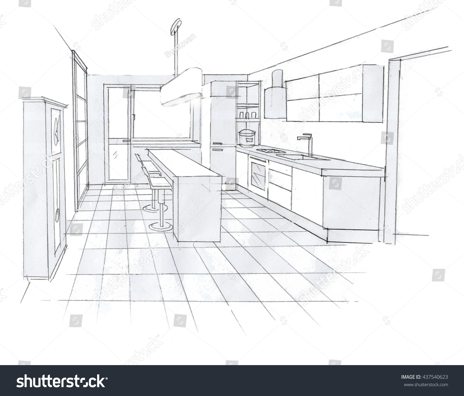 Royalty Free Interior Sketch Design Of Kitchen 437540623 Stock Photo