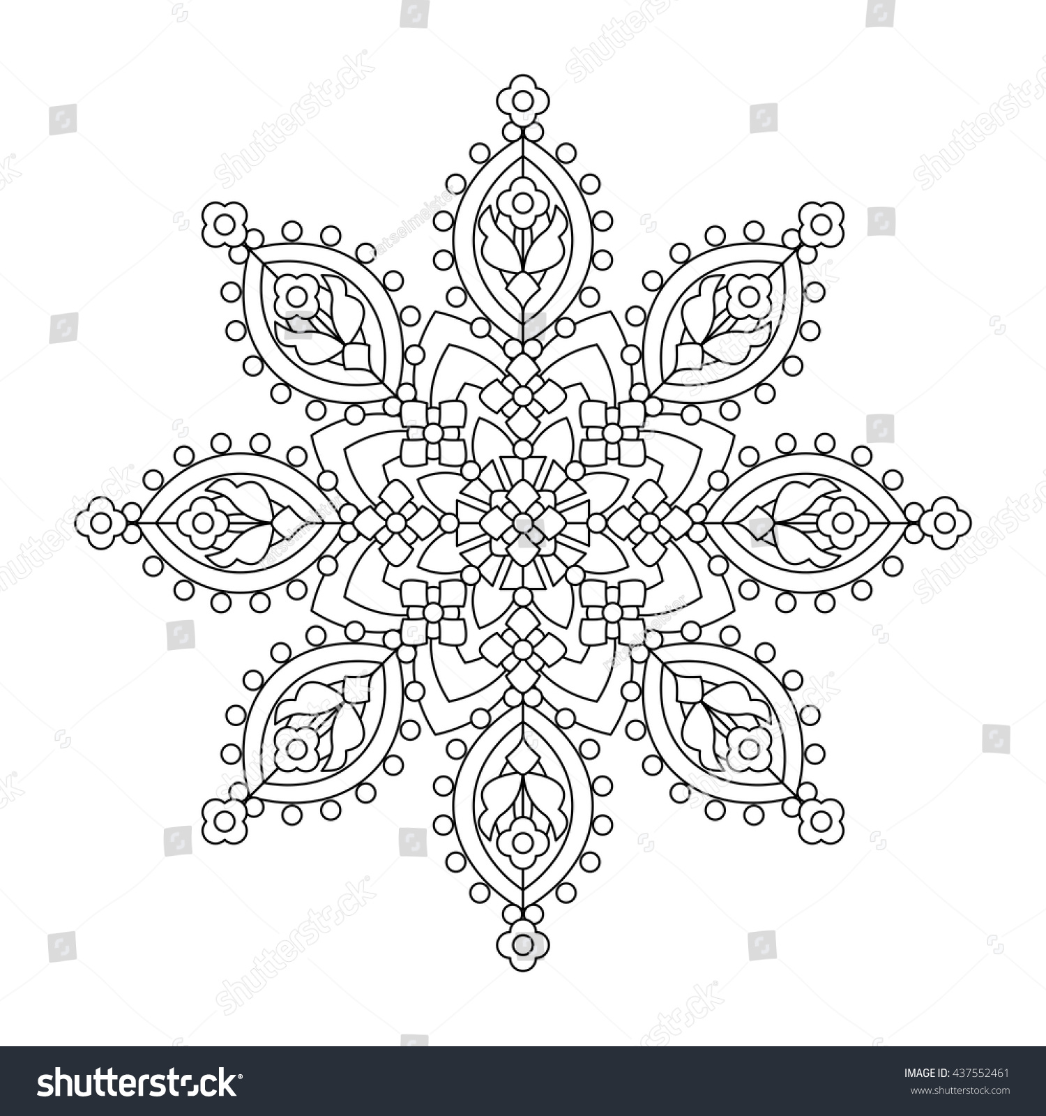 Abstract Mandala Whimsical Snowflake Line Art Stock Vector (Royalty ...
