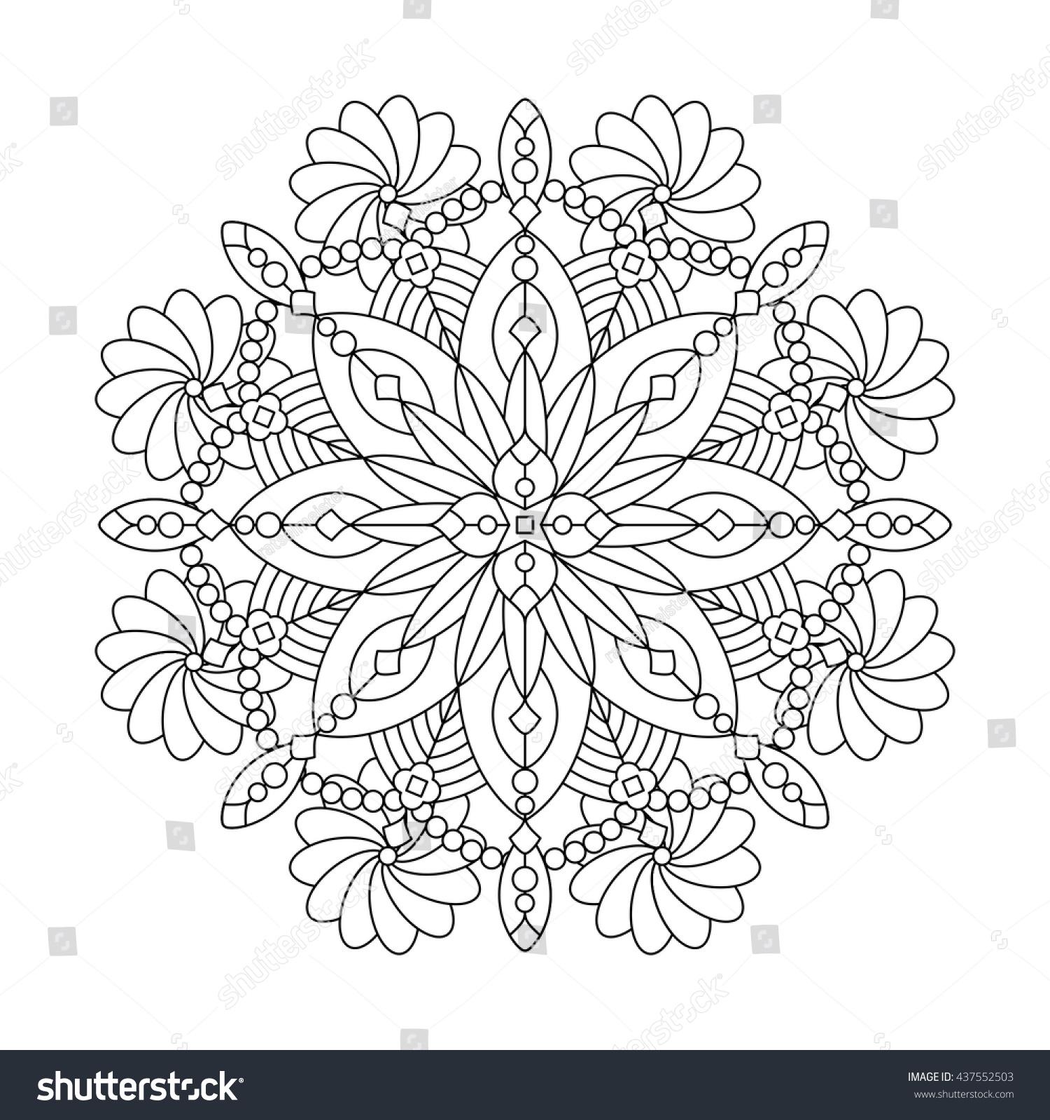 abstract mandala whimsical snowflake line art stock vector