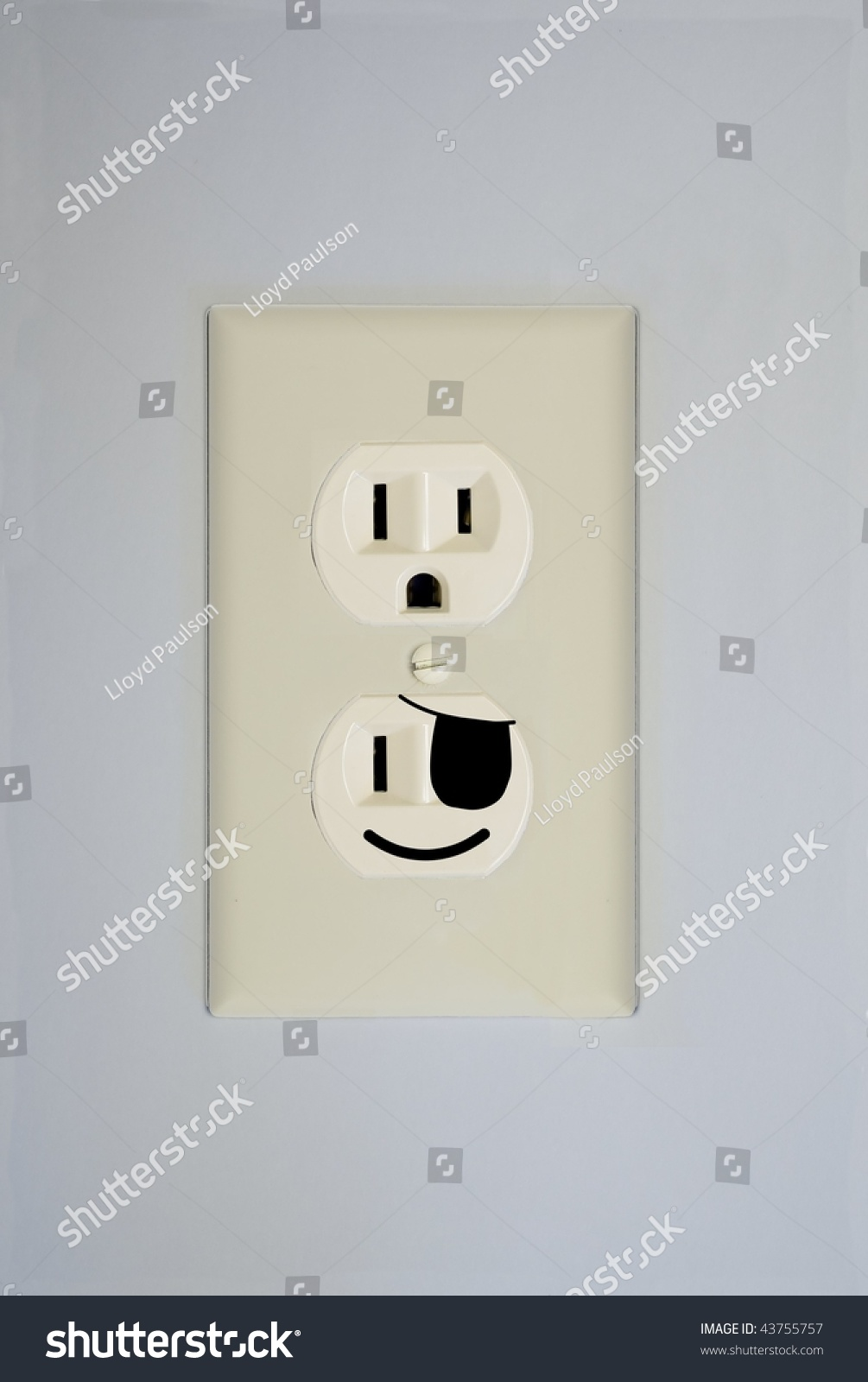 Standard Wall Electrical Outlet Contains Two Stock Photo (Royalty ...