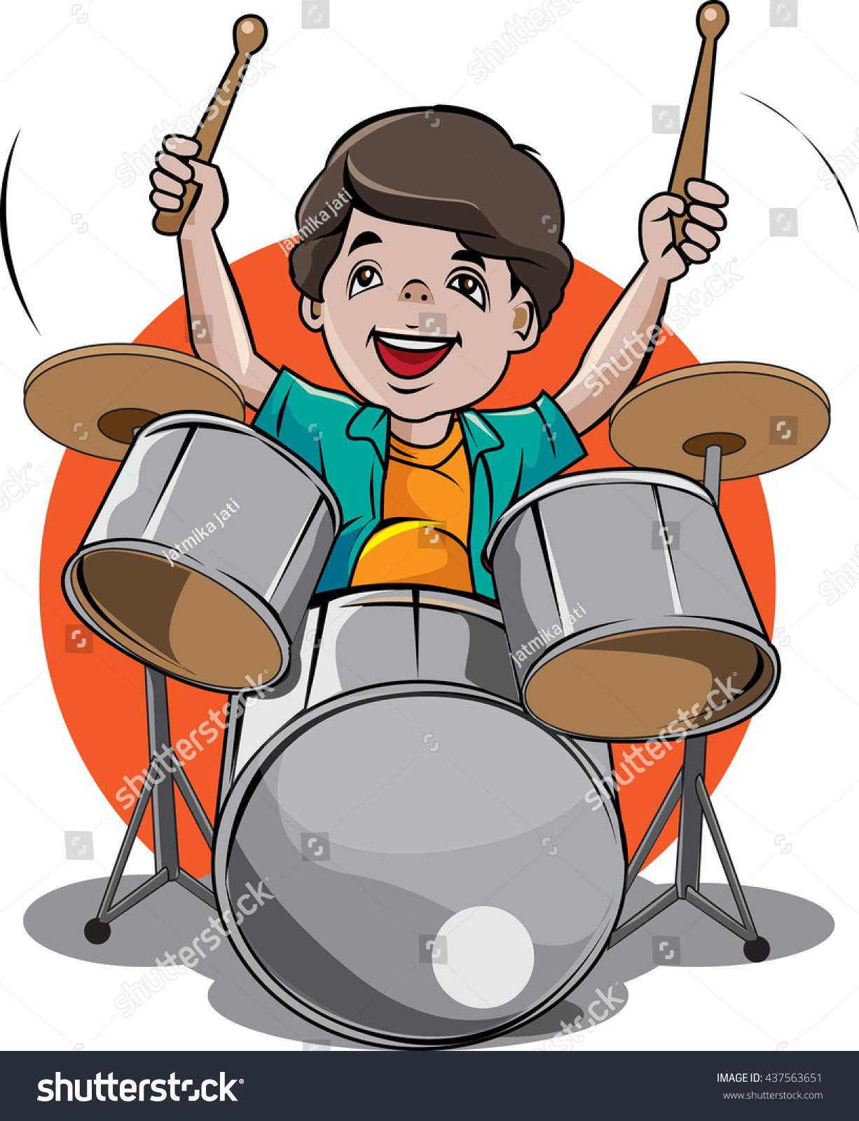 Vector Cartoon Illustration Drummer Musician Stock Vector ...