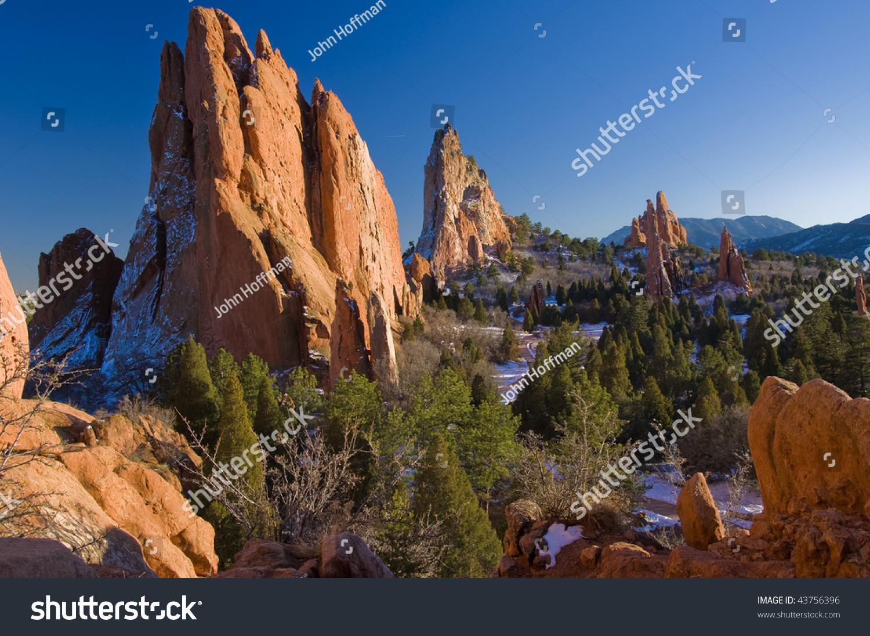 Beautiful Garden Of The Gods Park Near Colorado Springs Colorado Stock Photo 43756396